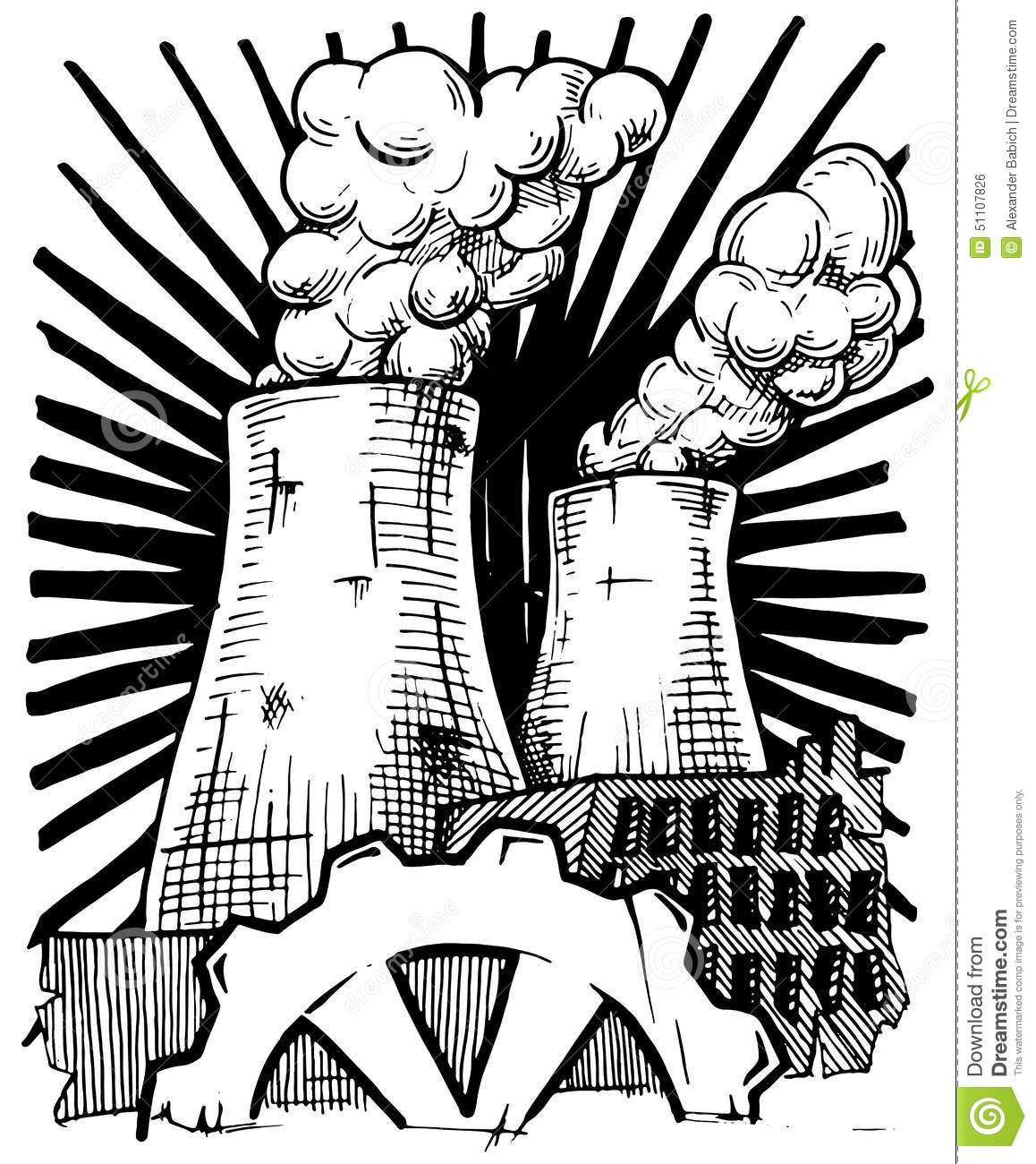 Nuclear Power Station Stock Vector Illustration Of