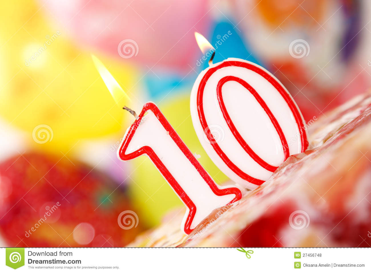 Number 10 Candle On A Cake Stock Photo Image Of Vibrant