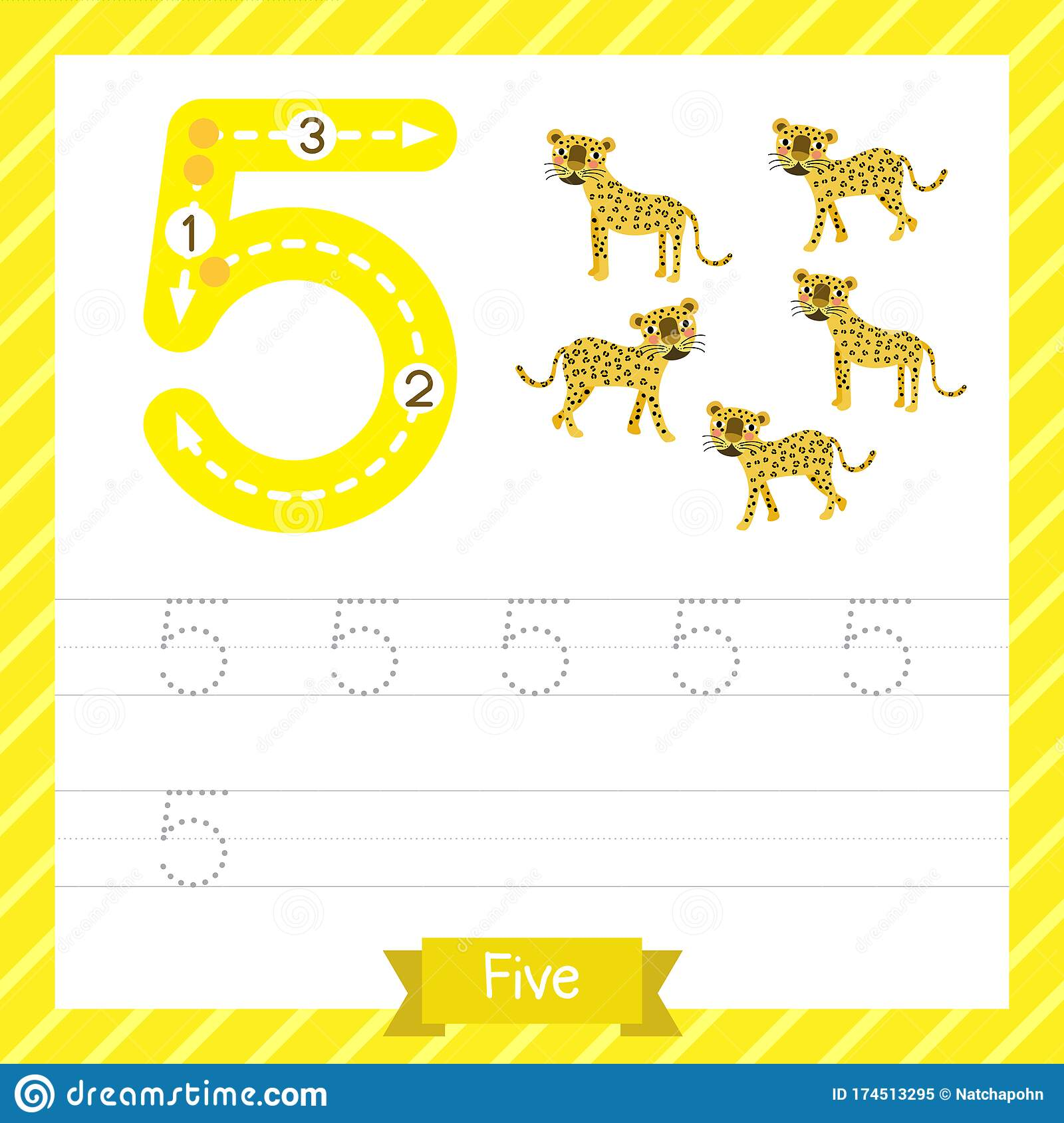 Number 5 Animal Tracing Worksheet Stock Vector