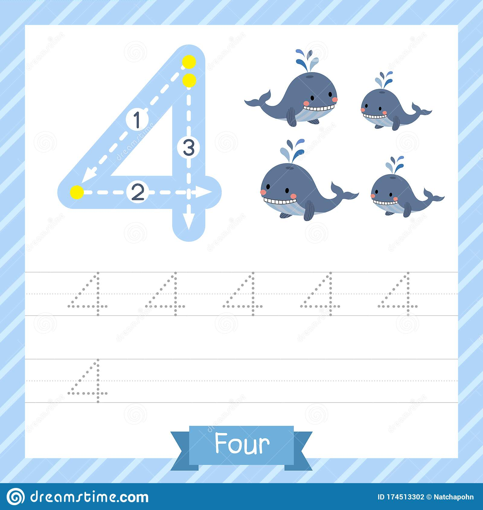 Number 4 Animal Tracing Worksheet Stock Vector