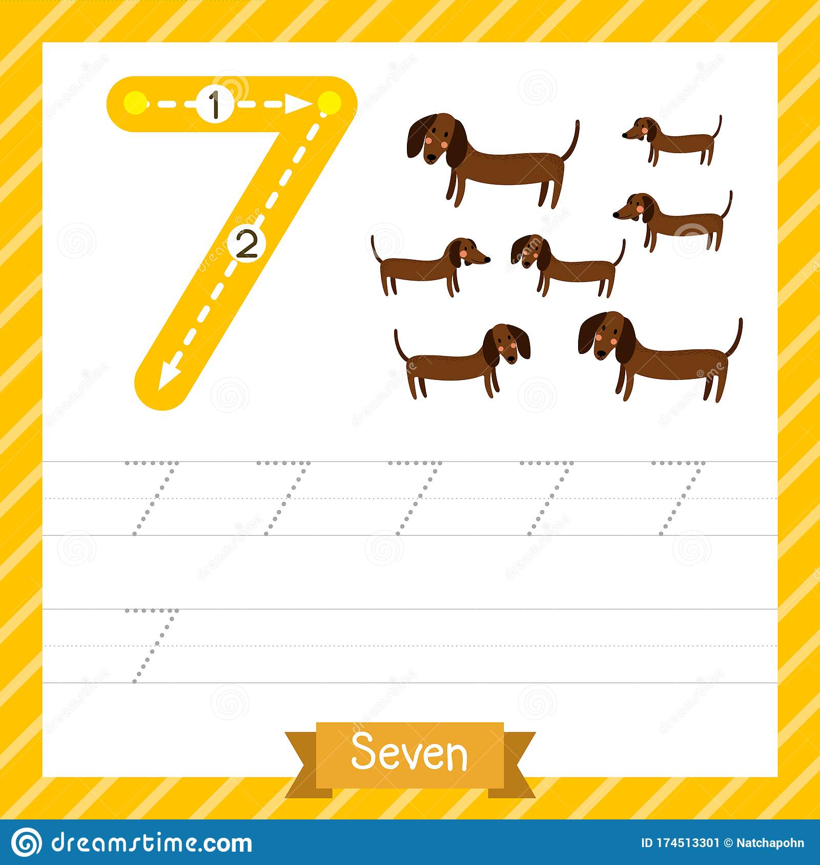 Number 7 Animal Tracing Worksheet Stock Vector