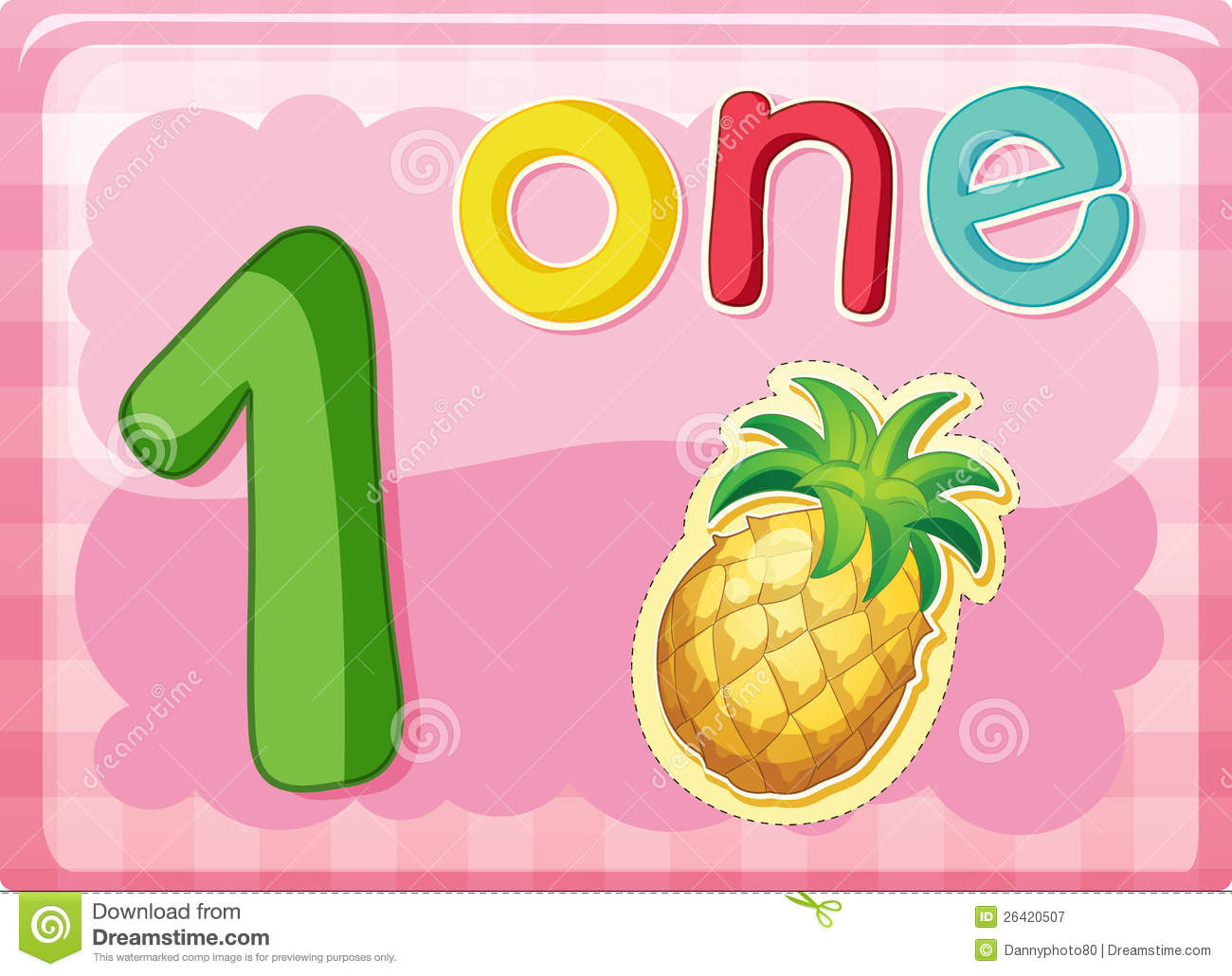 Number Cards Stock Vector Illustration Of Pineapple