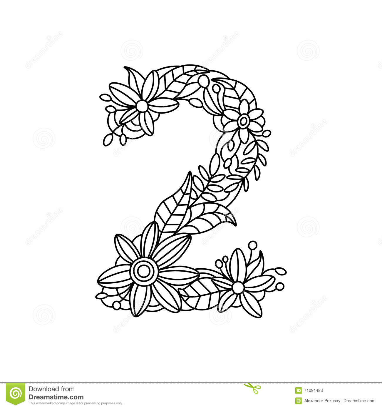 Number 2 Coloring Book For Adults Vector Stock Vector