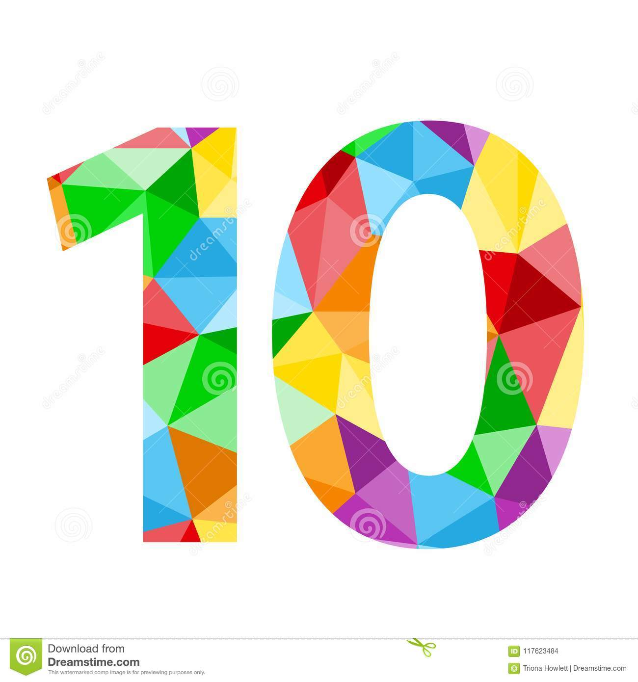 Number 10 Icon With Colorful Polygon Pattern Stock