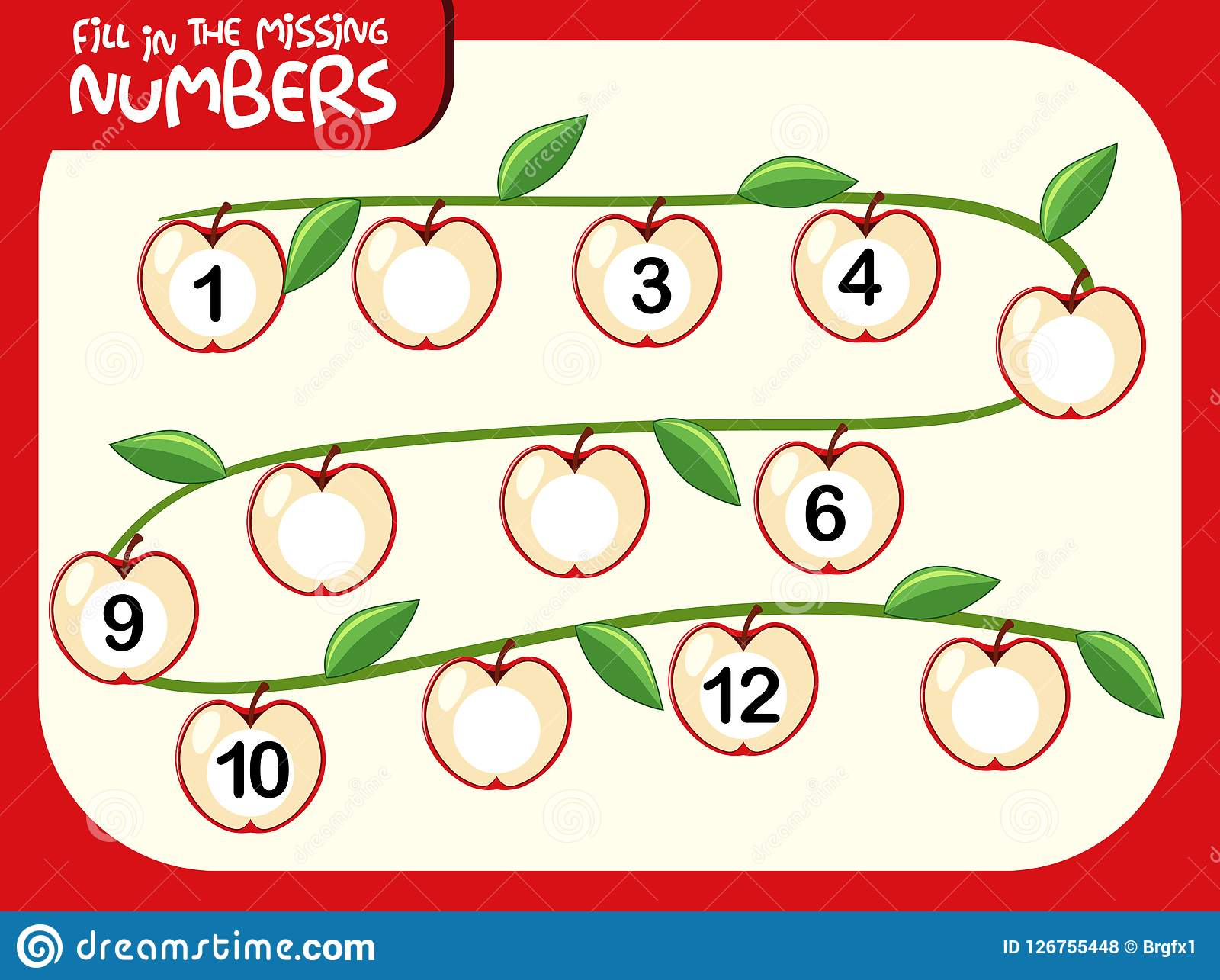 A Number Math Worksheet Stock Vector Illustration Of
