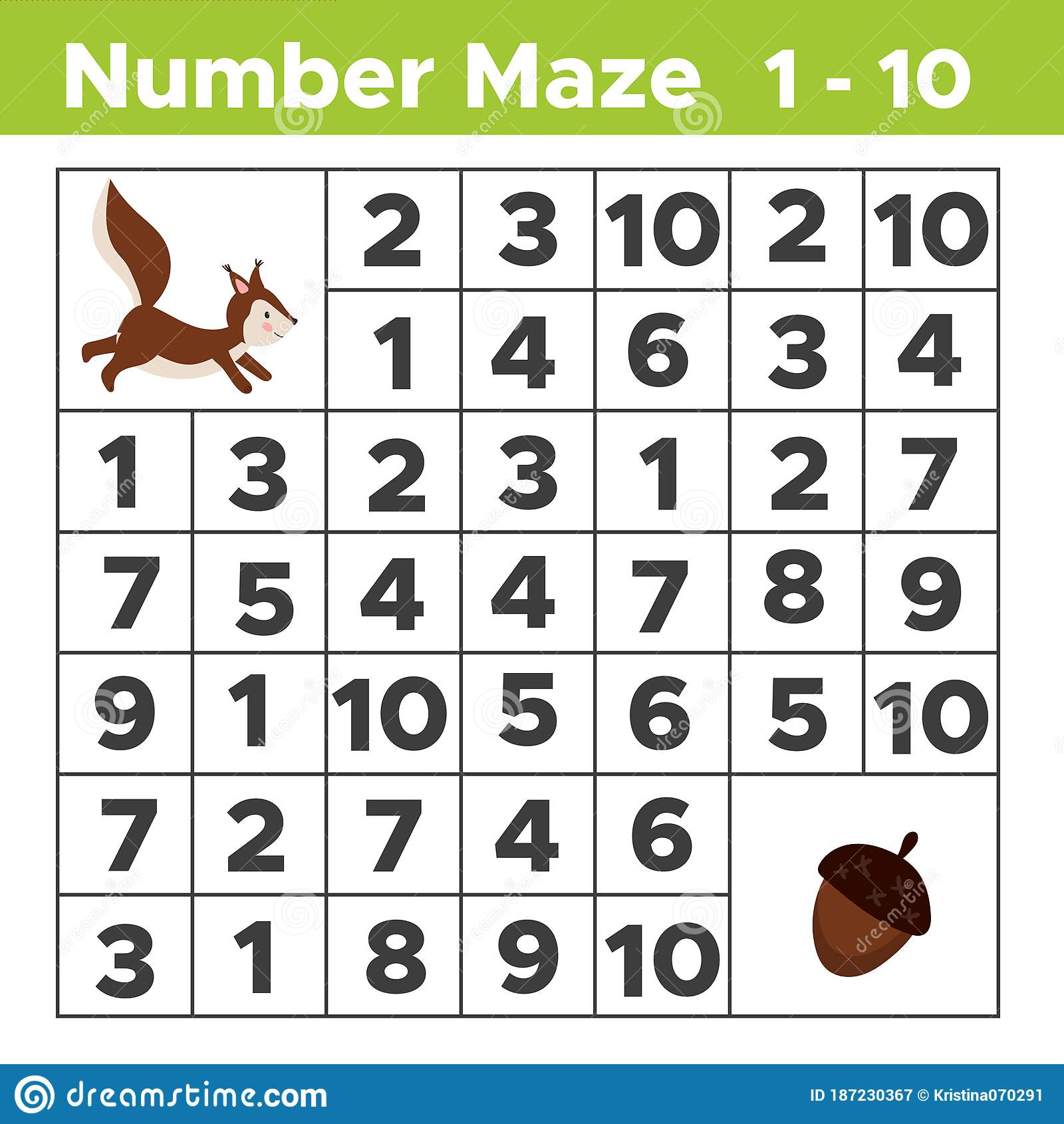 Number Maze Math Puzzle Game For Children Help The