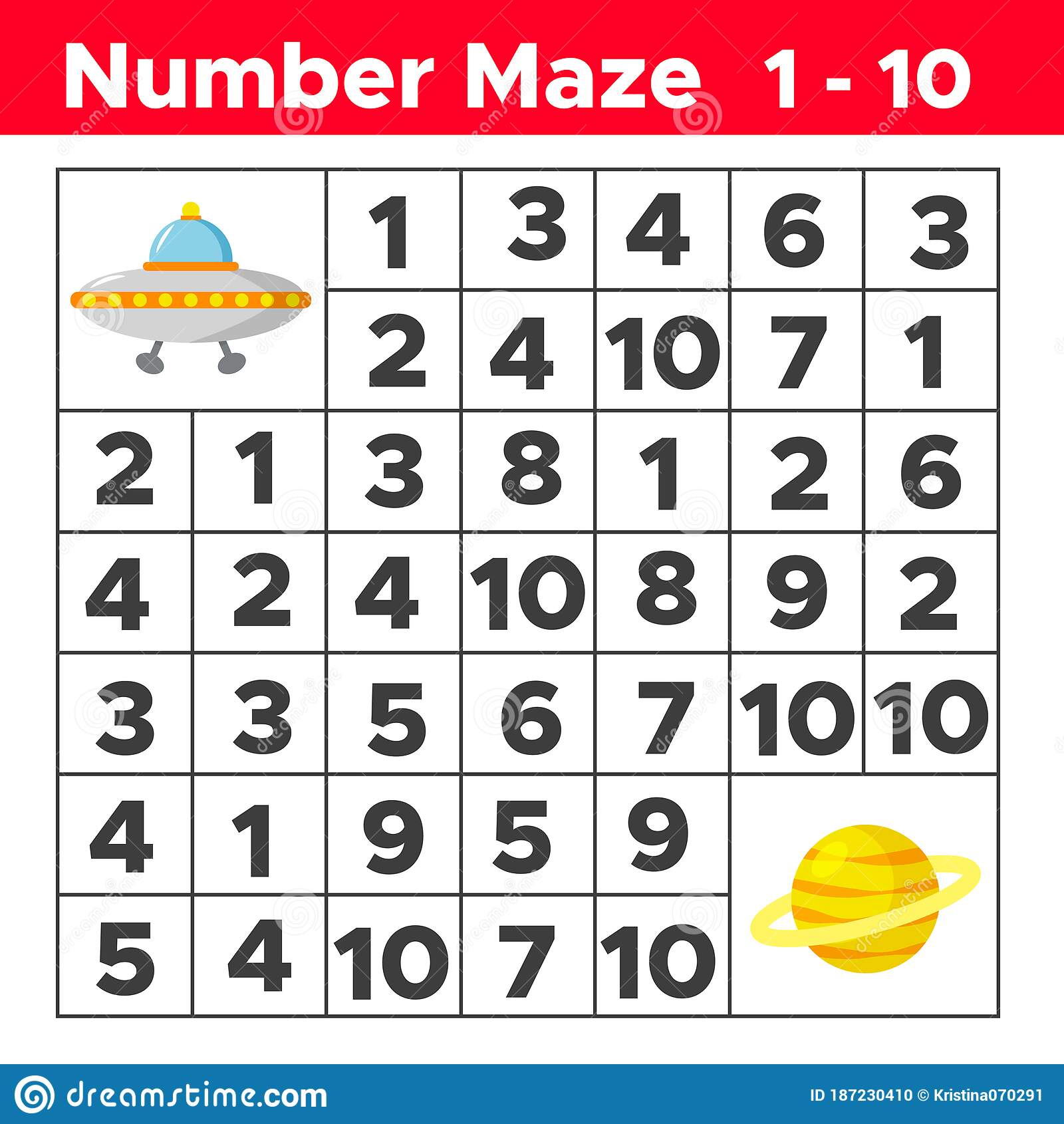 Number Maze Math Puzzle Game For Children Help The Ufo
