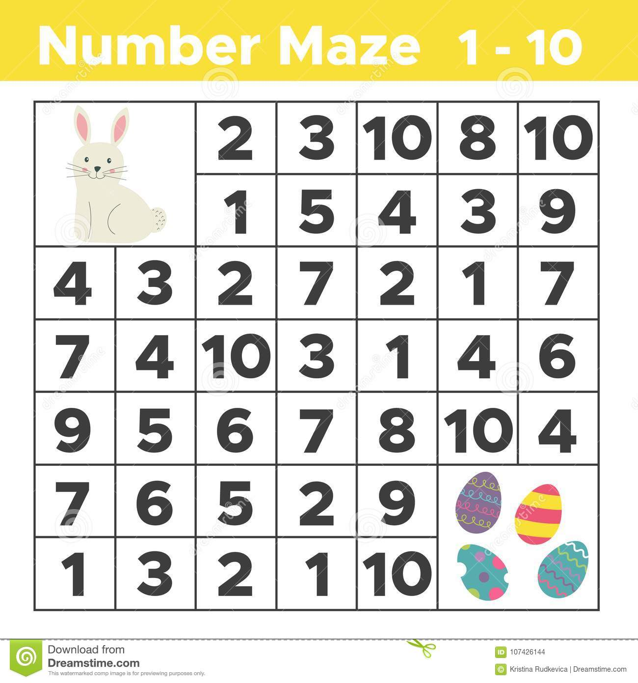 Number Maze Mathematical Puzzle Game For Children Stock