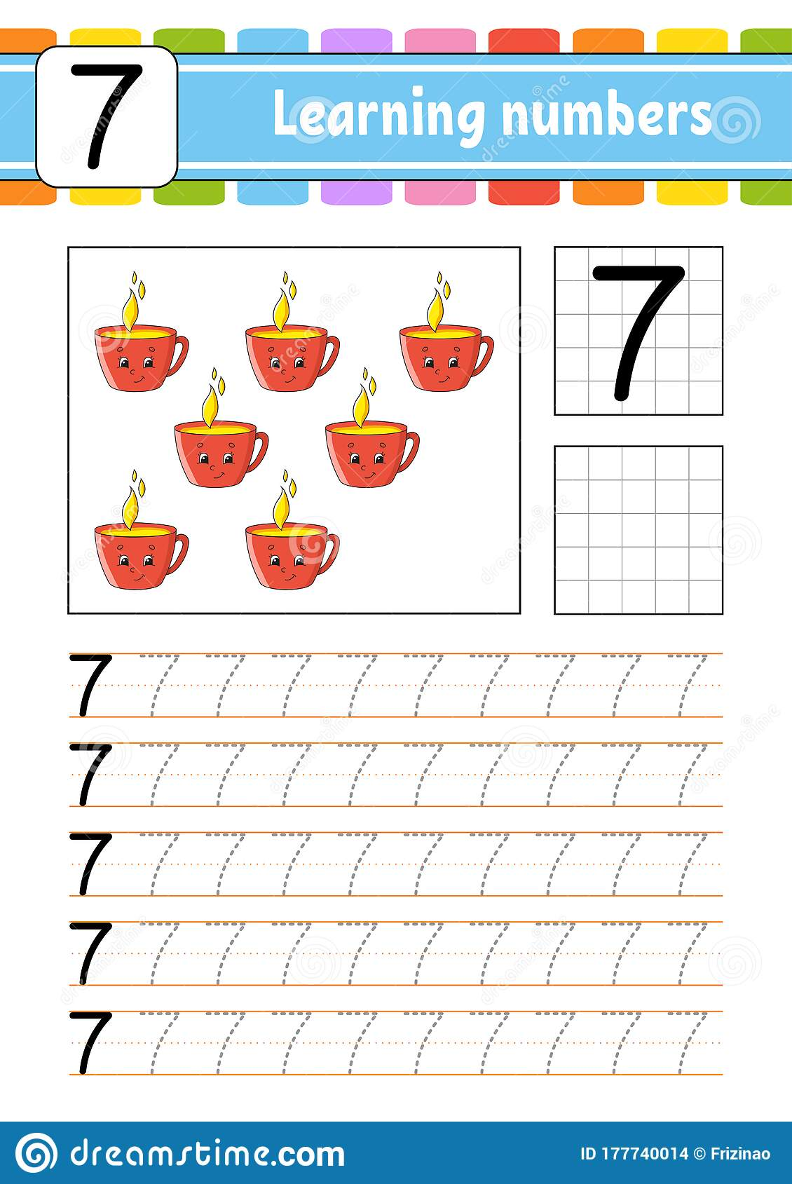 Number 7 Trace And Write Handwriting Practice Learning