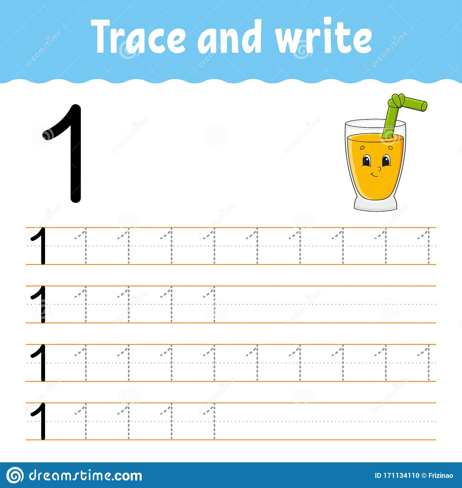 Number 1 Trace And Write Handwriting Practice Learning