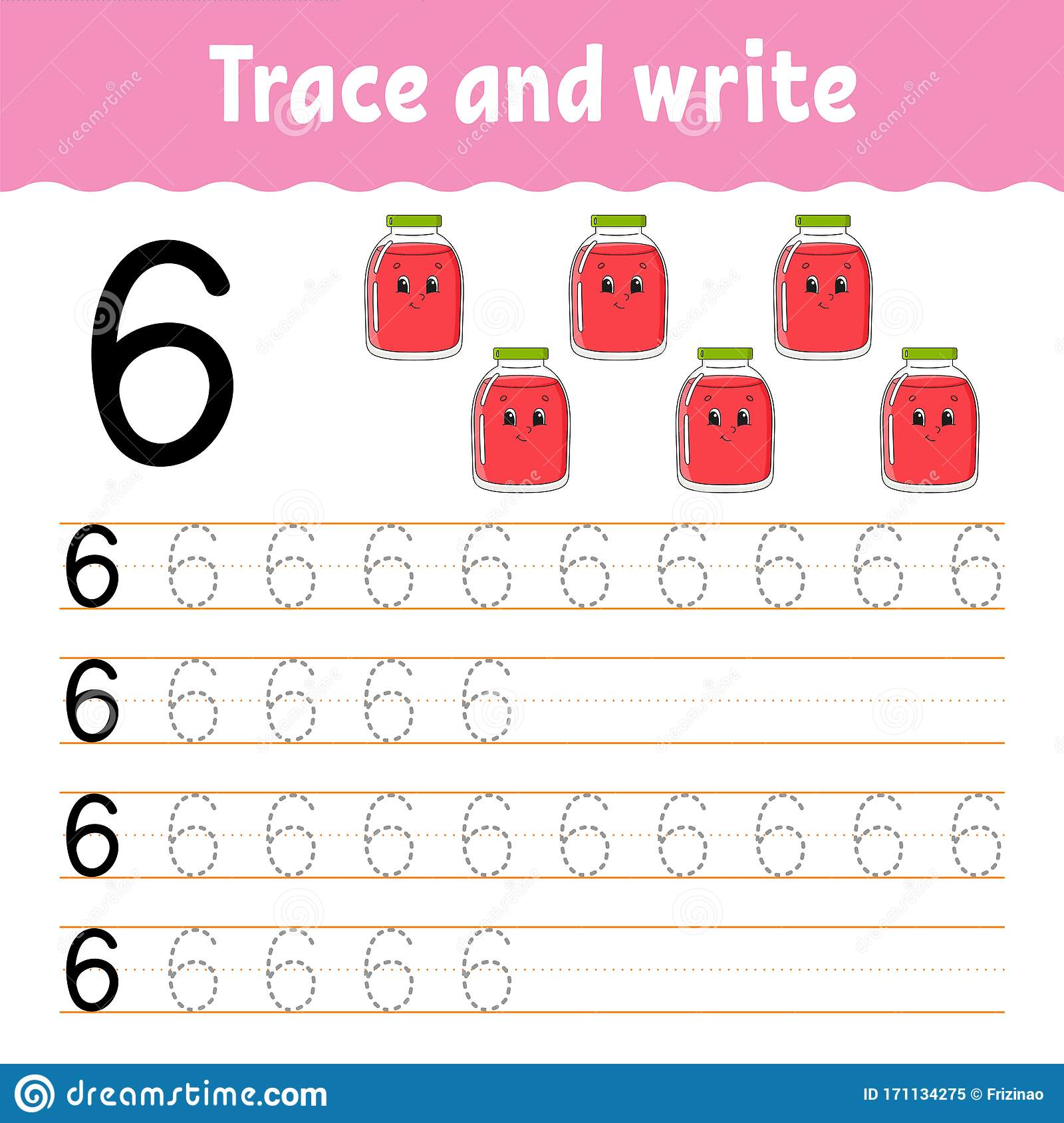 Number 6 Trace And Write Handwriting Practice Learning
