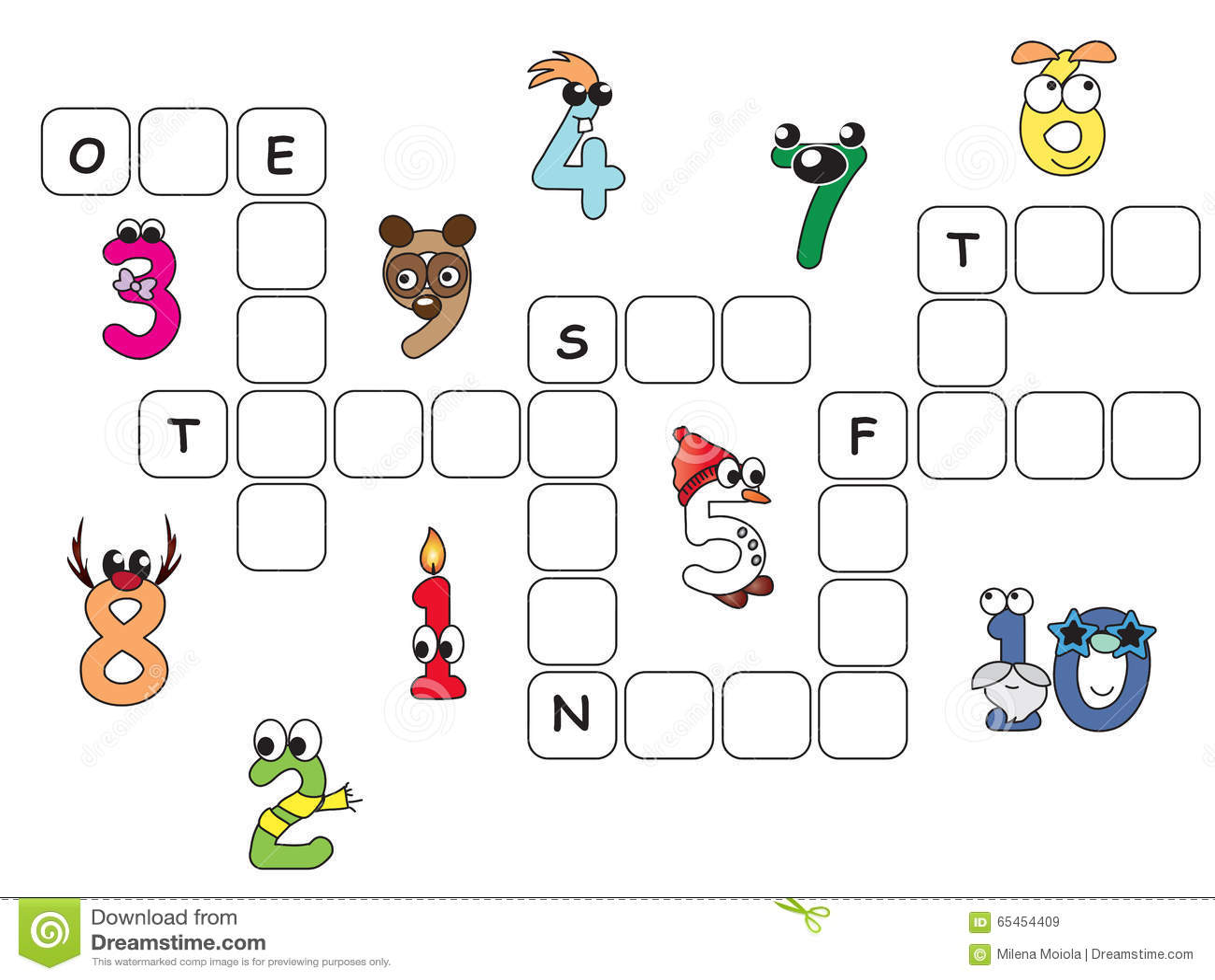 Numbers Crossword Stock Illustration