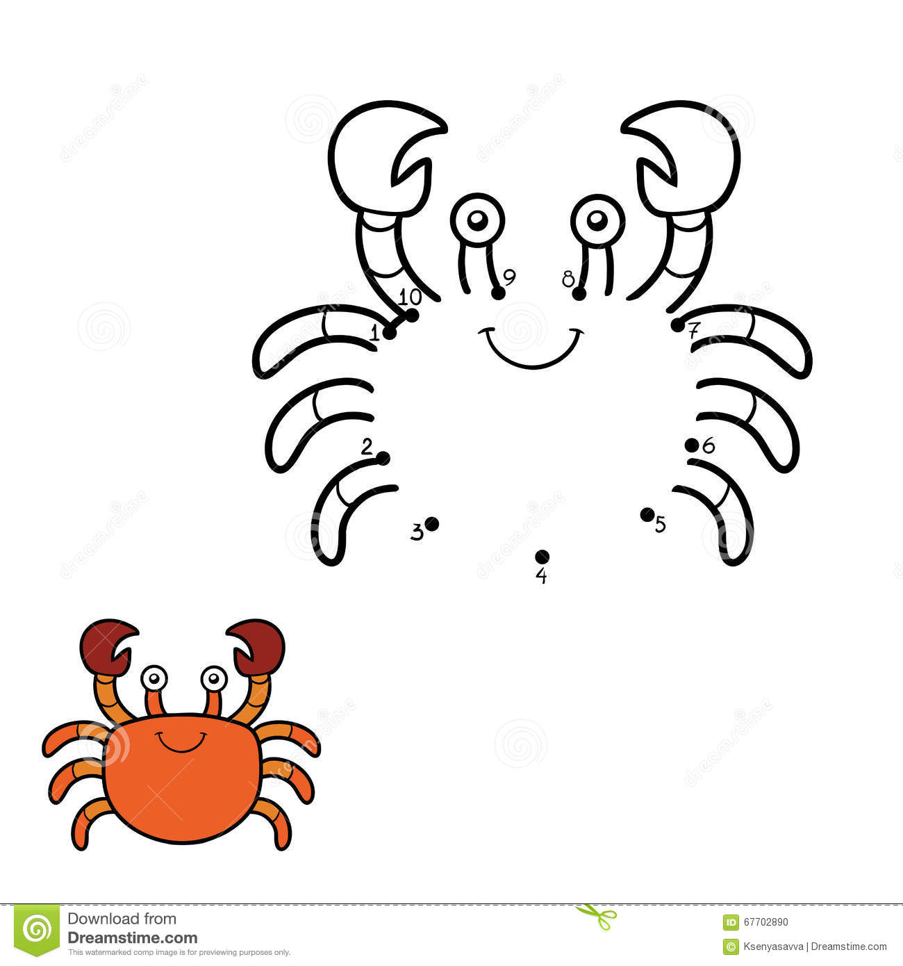 Numbers Game Dot To Dot Crab Stock Vector