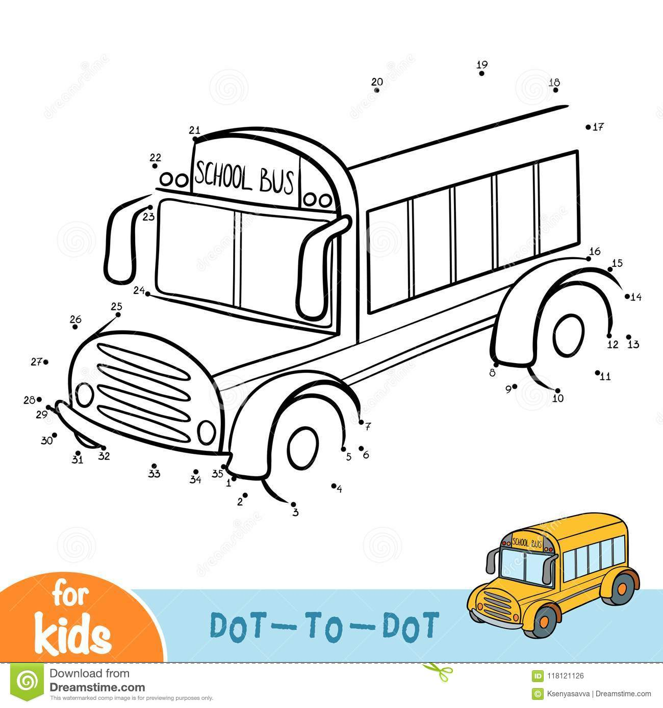 Numbers Game Education Game School Bus Stock Vector