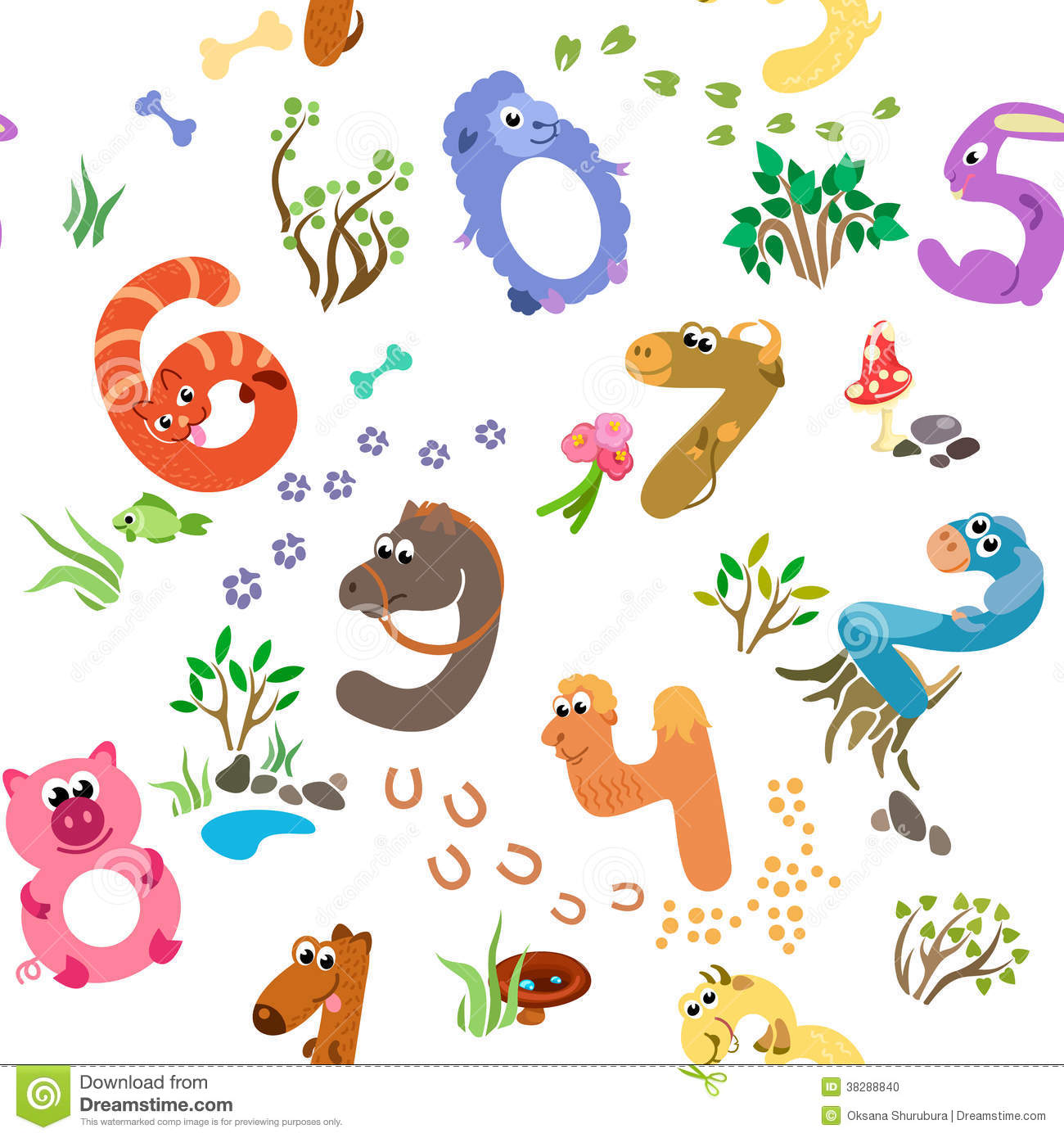 Numbers Like Farm Animals Seamless Pattern Stock Vector