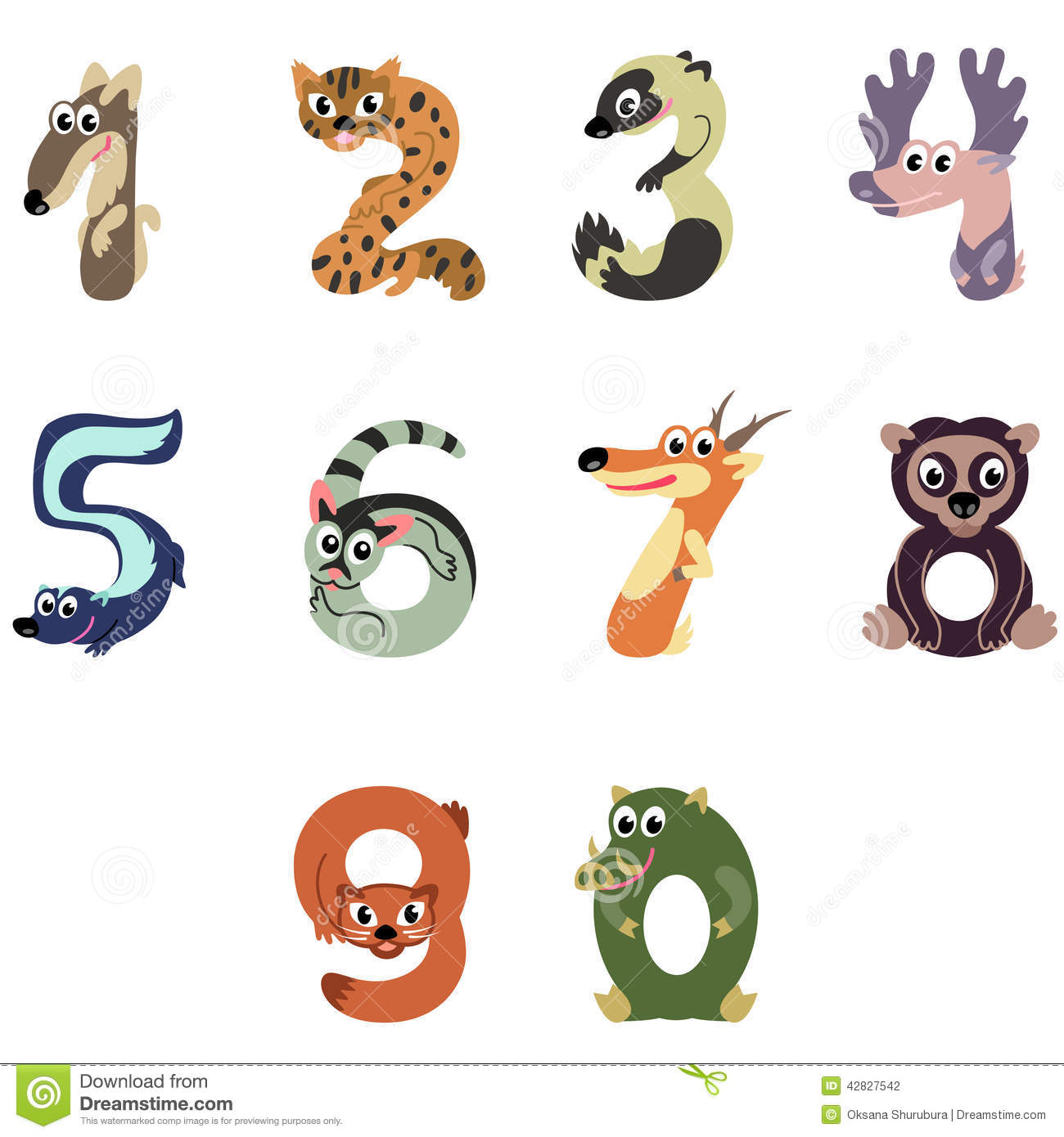 Numbers Like North America Animals Stock Vector