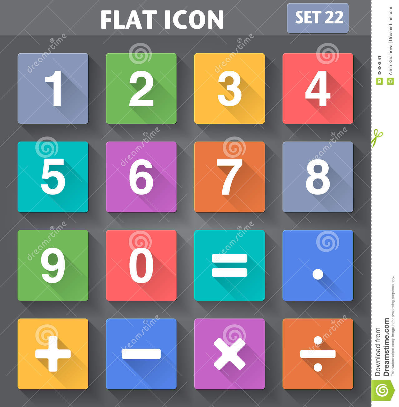 Numbers And Mathematical Icons Set In Flat Style Stock Vector