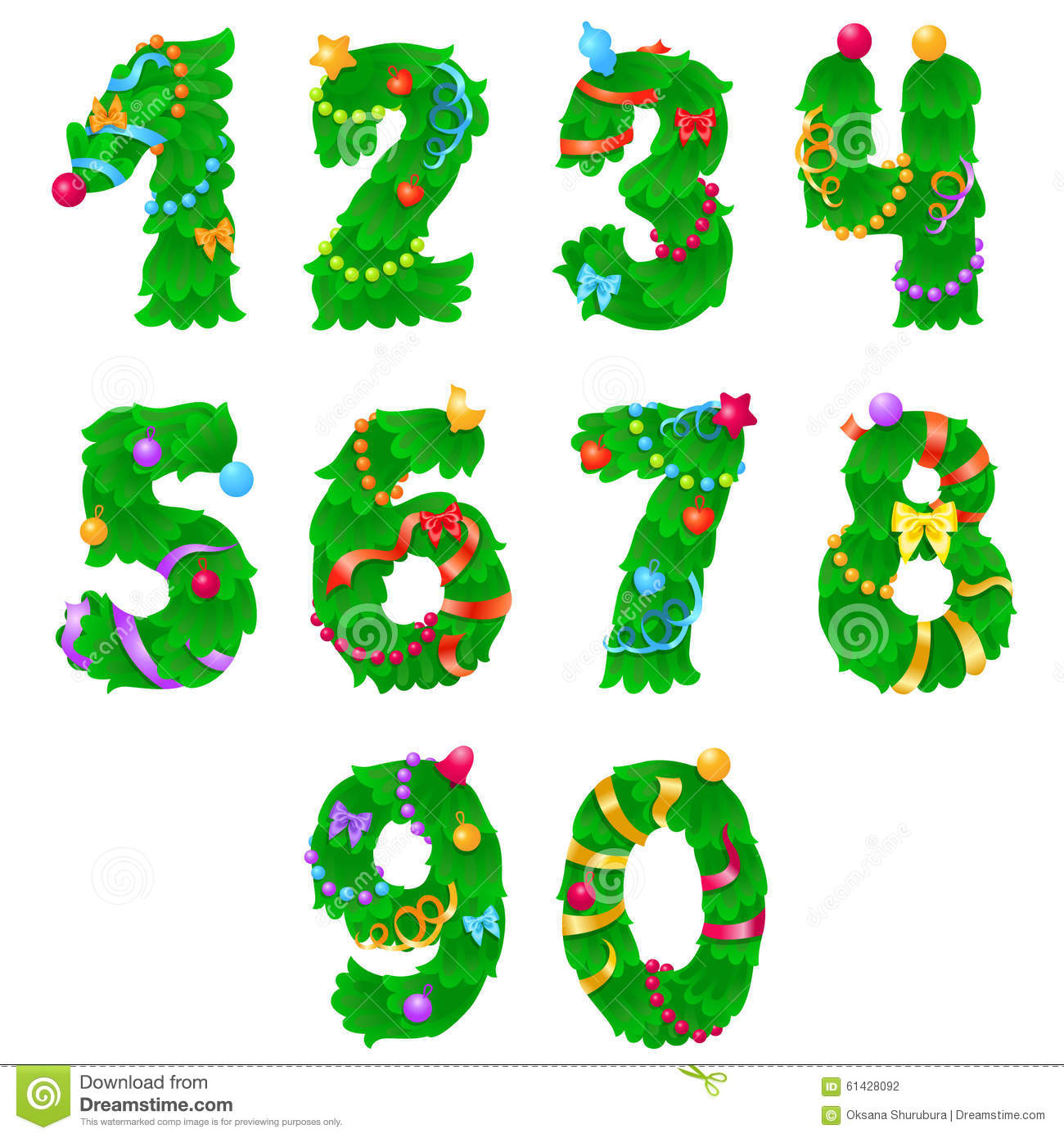 Numbers From One To Zero Like Christmas Tree With Ribbons