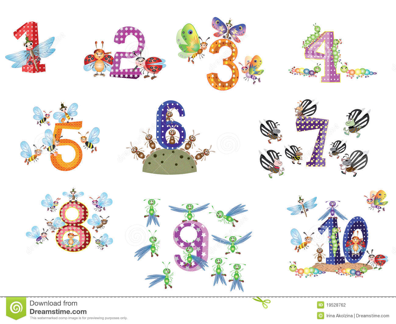 Numbers Set With Insects Stock Vector Image Of Funny