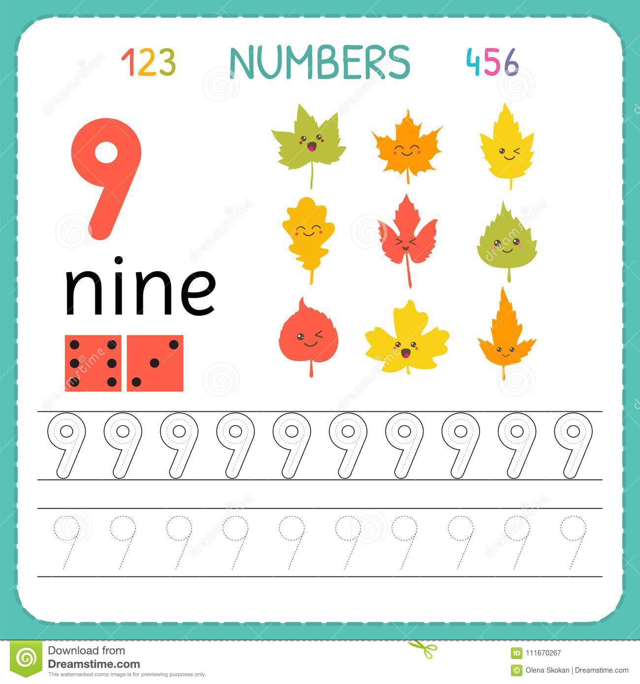 Numbers Tracing Worksheet For Preschool And Kindergarten Writing Number Nine Exercises For