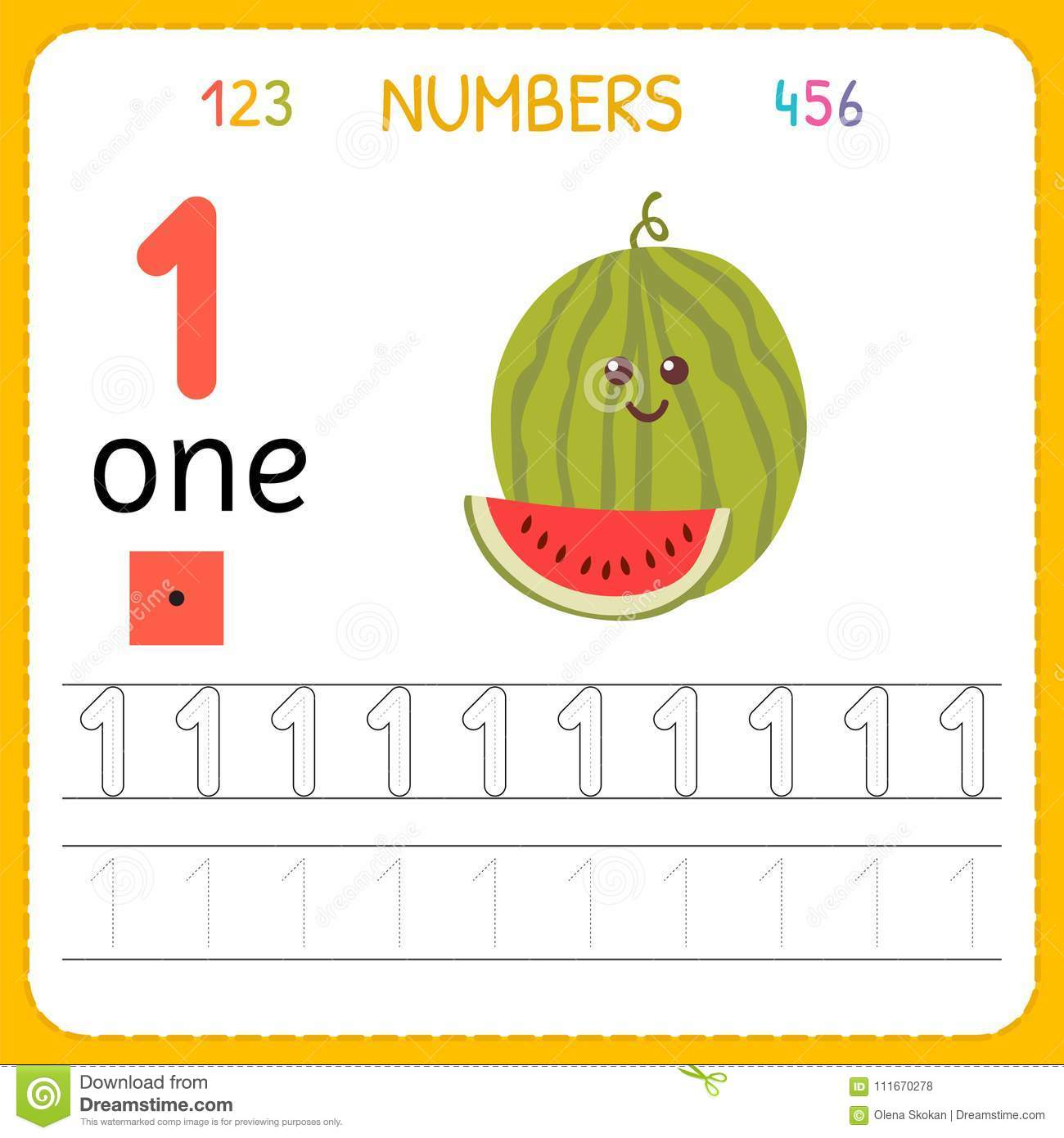 Numbers Tracing Worksheet For Preschool And Kindergarten Writing Number One Exercises For Kids