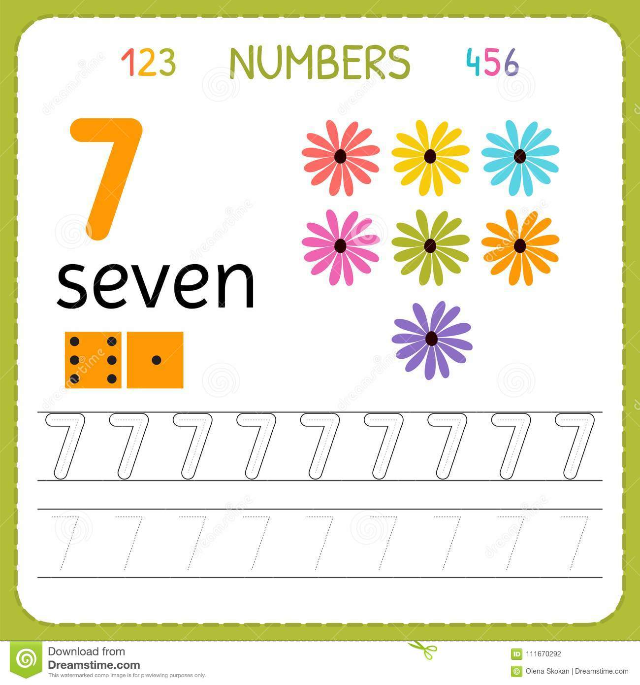 Numbers Tracing Worksheet For Preschool And Kindergarten Writing Number Seven Exercises For