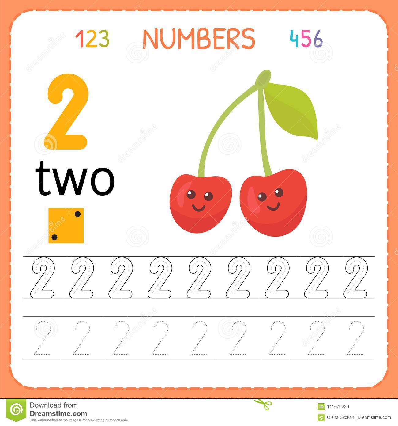 Numbers Tracing Worksheet For Preschool And Kindergarten Writing Number Two Exercises For Kids
