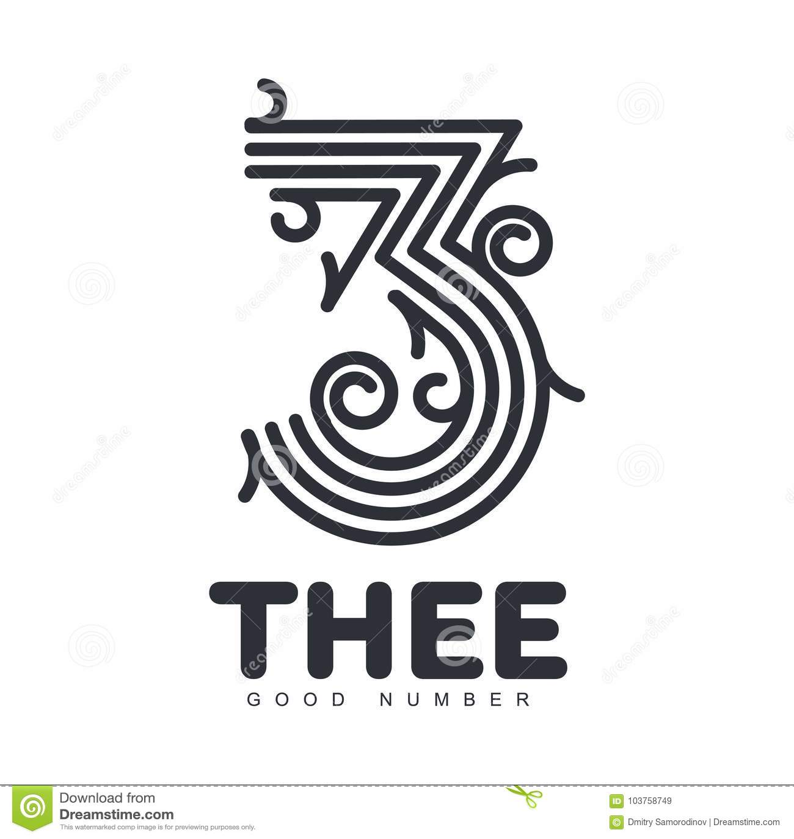 Numeric Logo Three Stock Illustration Illustration Of