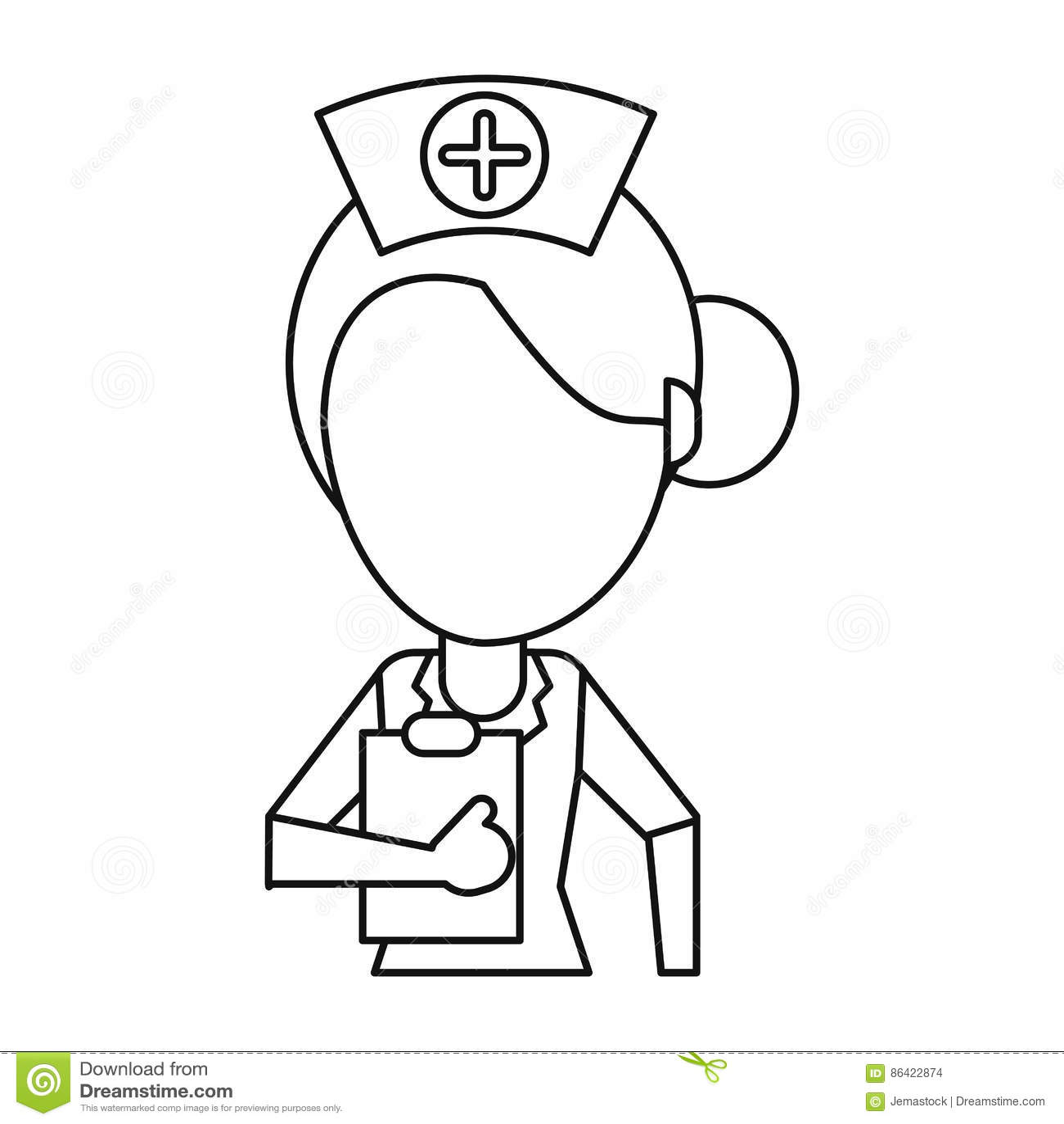 Nurse Work Hospital Clipboard Thin Line Stock Vector