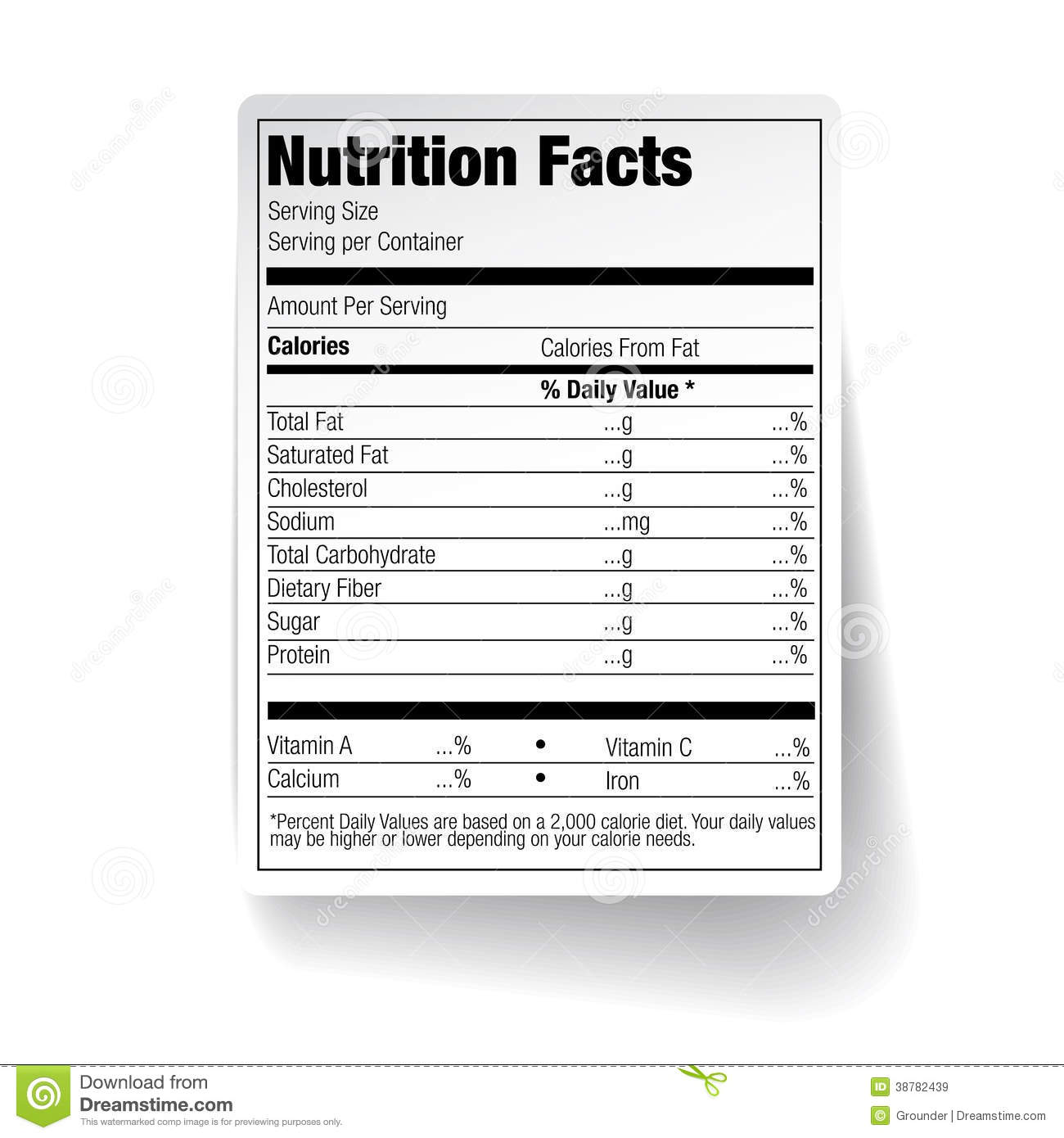 Nutrition Facts Food Label Stock Vector Illustration Of