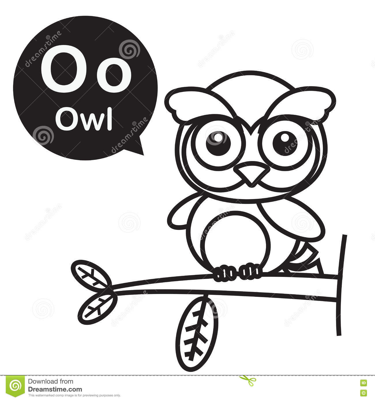 O Owl Cartoon And Alphabet For Children To Learning And Coloring Stock Vector