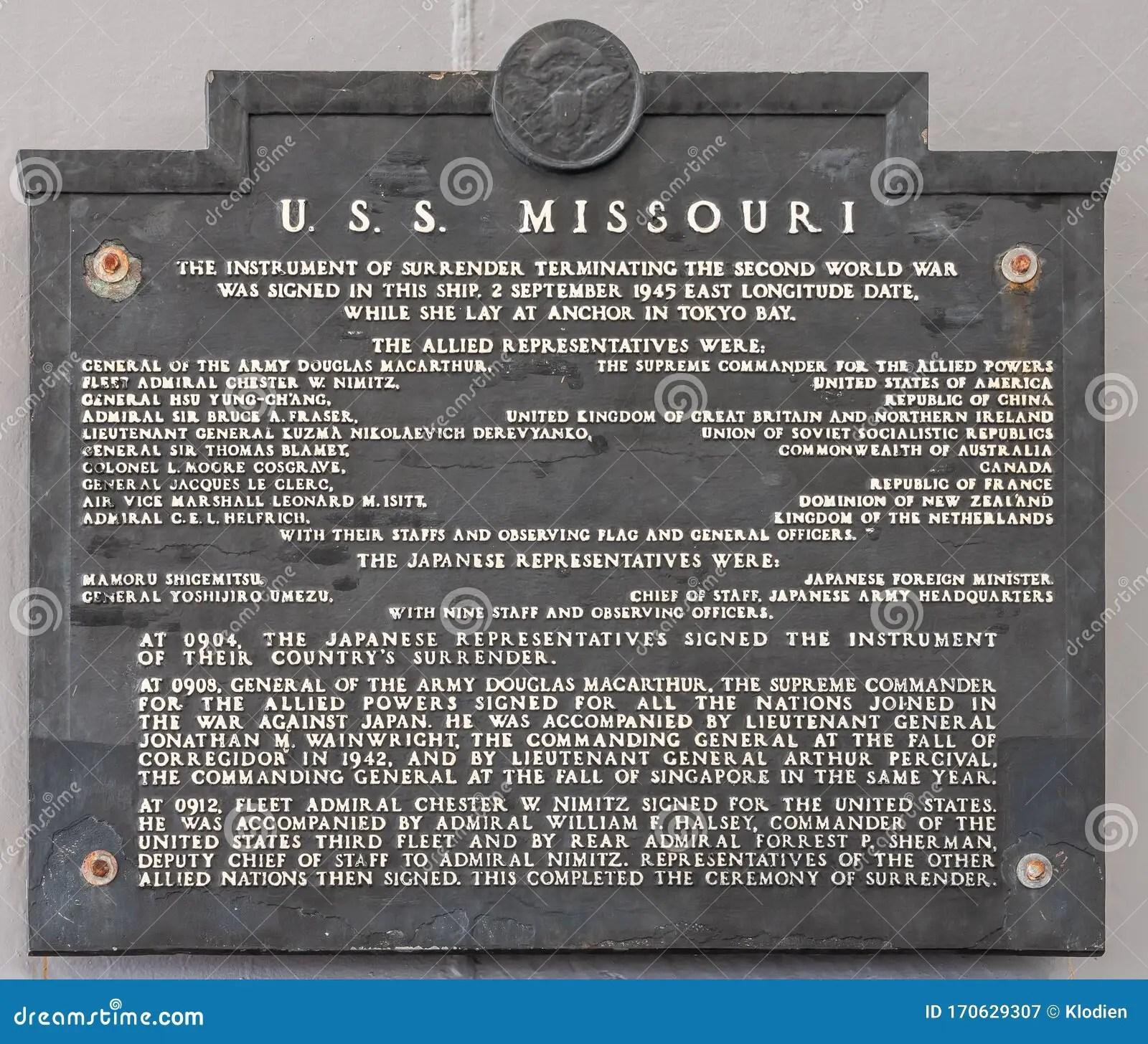 Japanese Surrender Memorial Plate At Uss Missouri At Pearl