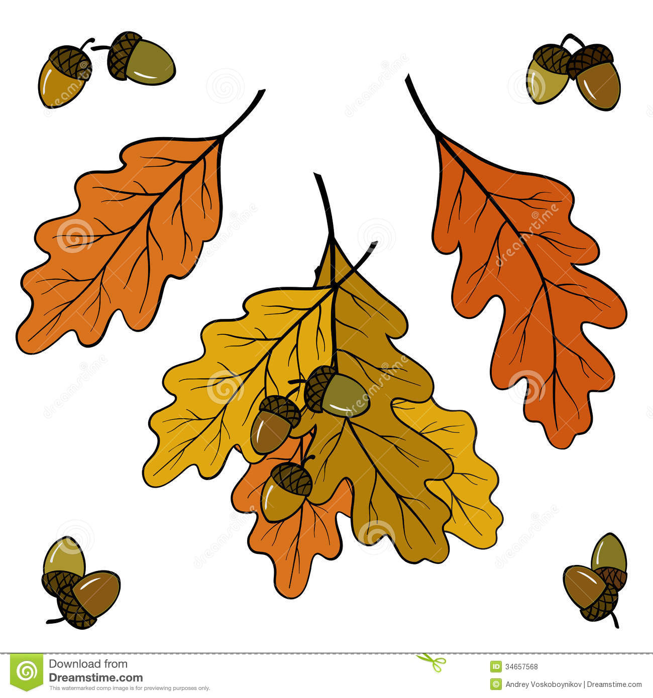 Worksheet Fall Leaf Acorns