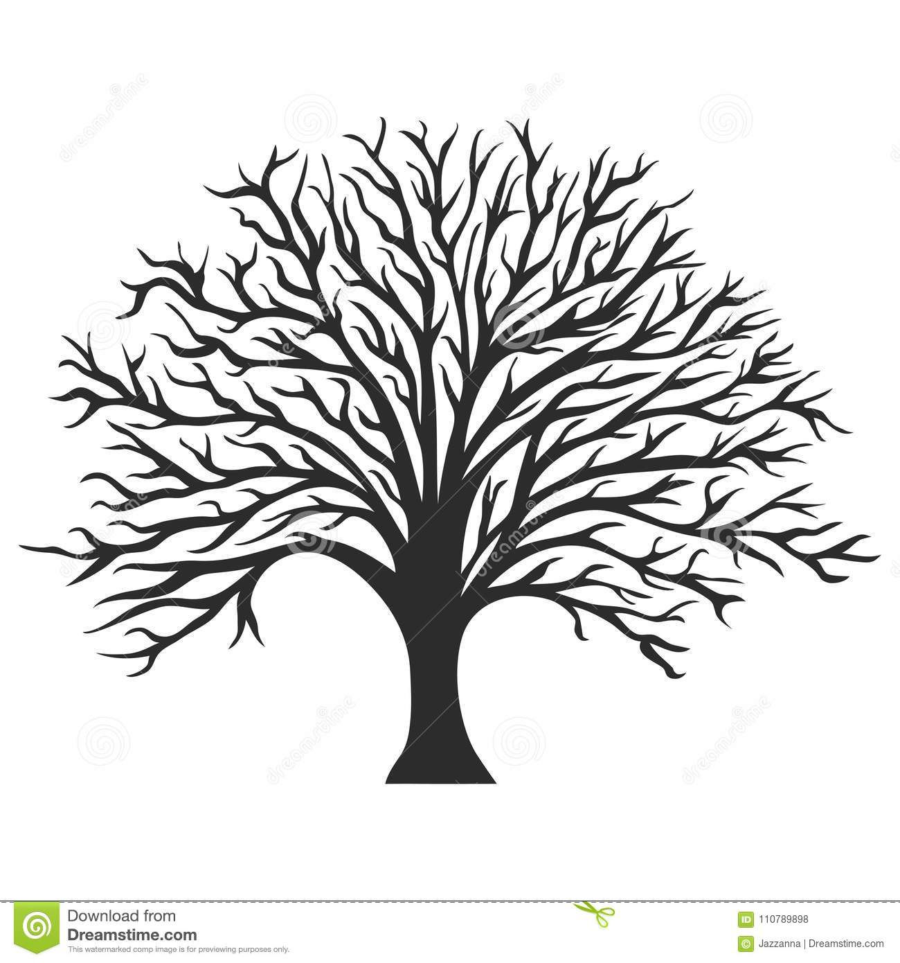 Object Oak Tree Silhouette Stock Vector Illustration Of