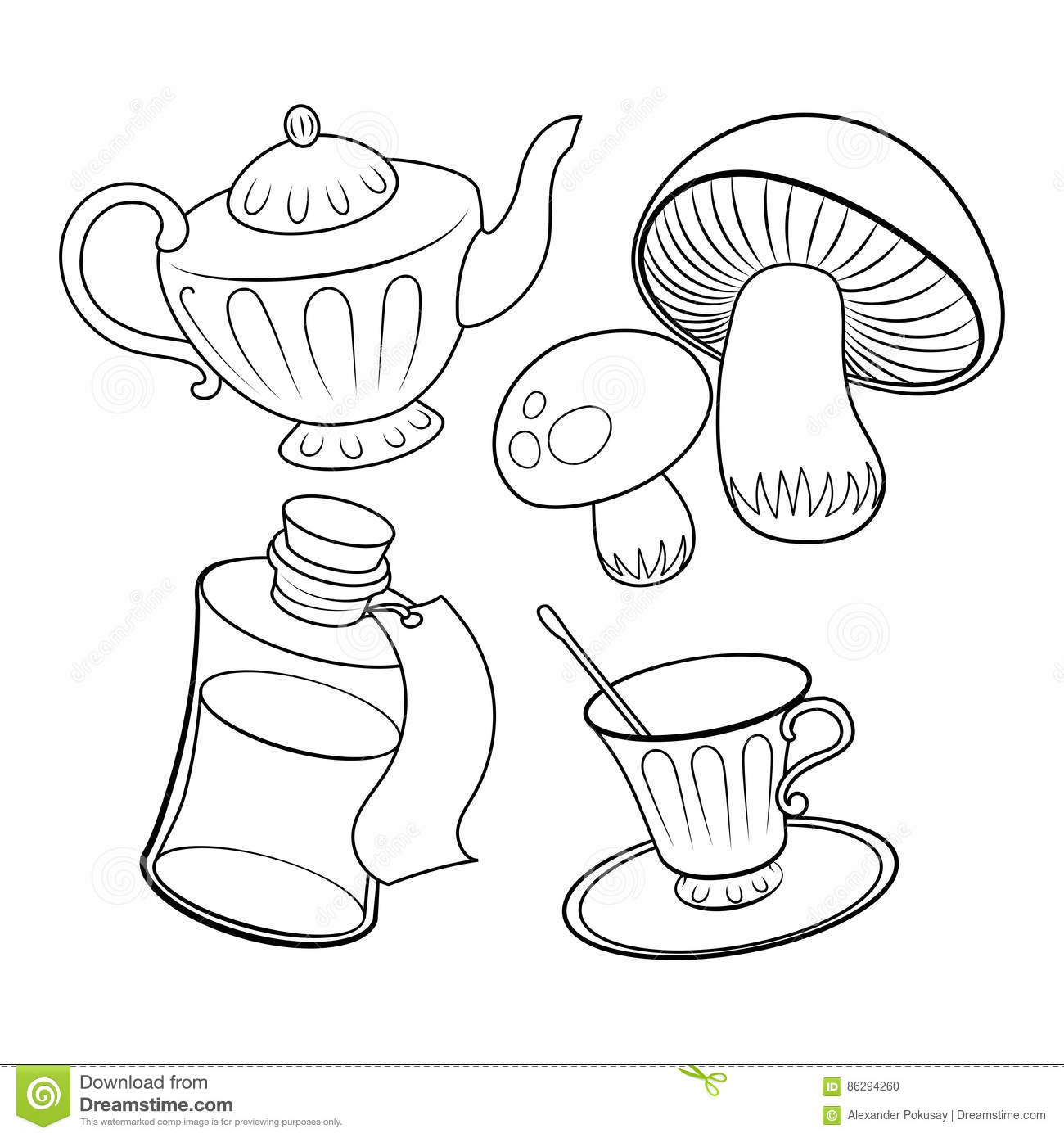 Objects From Fairy Tale Coloring Book Vector Stock Vector