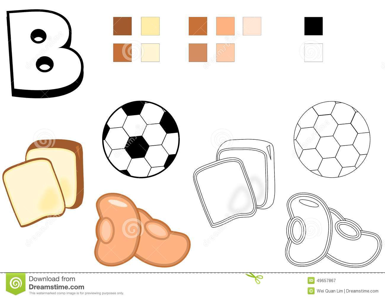 Objects Spelled With Letter B Drawing Template For Children Stock Photo