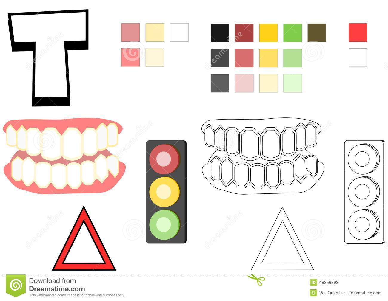 Objects Spelled With Letter T Drawing Template For Children Stock Photo
