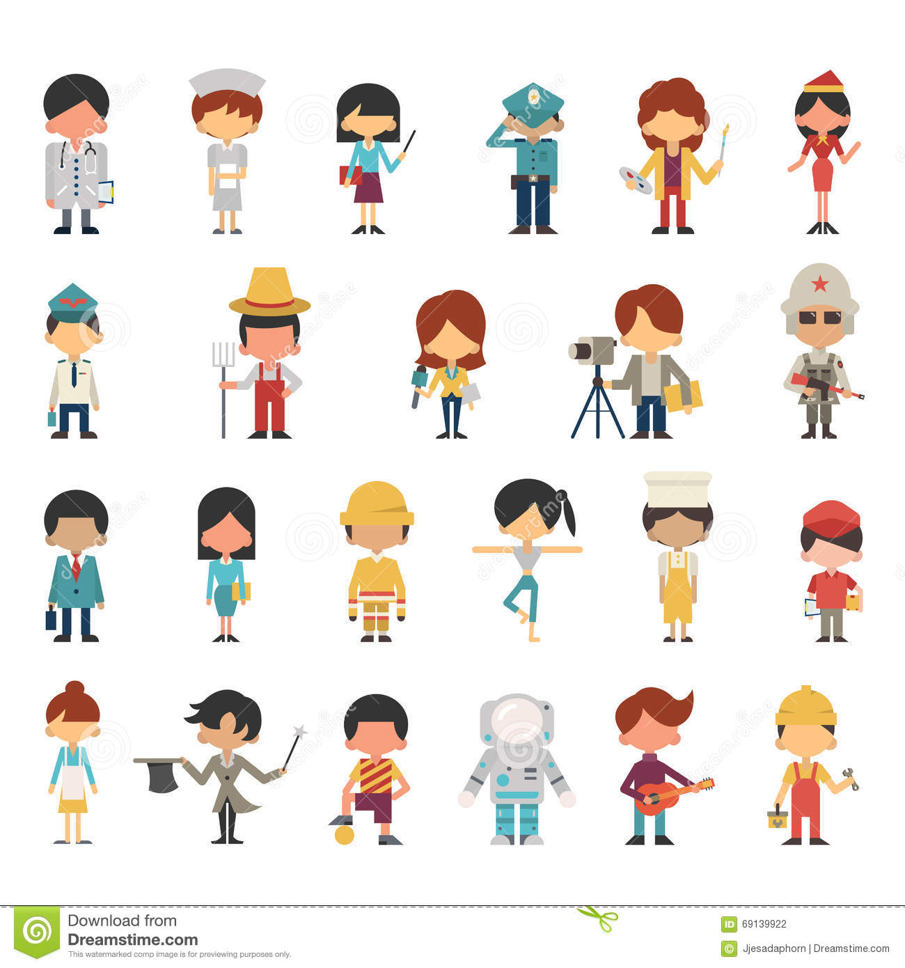 Occupations Kids Stock Vector Illustration Of Aviator