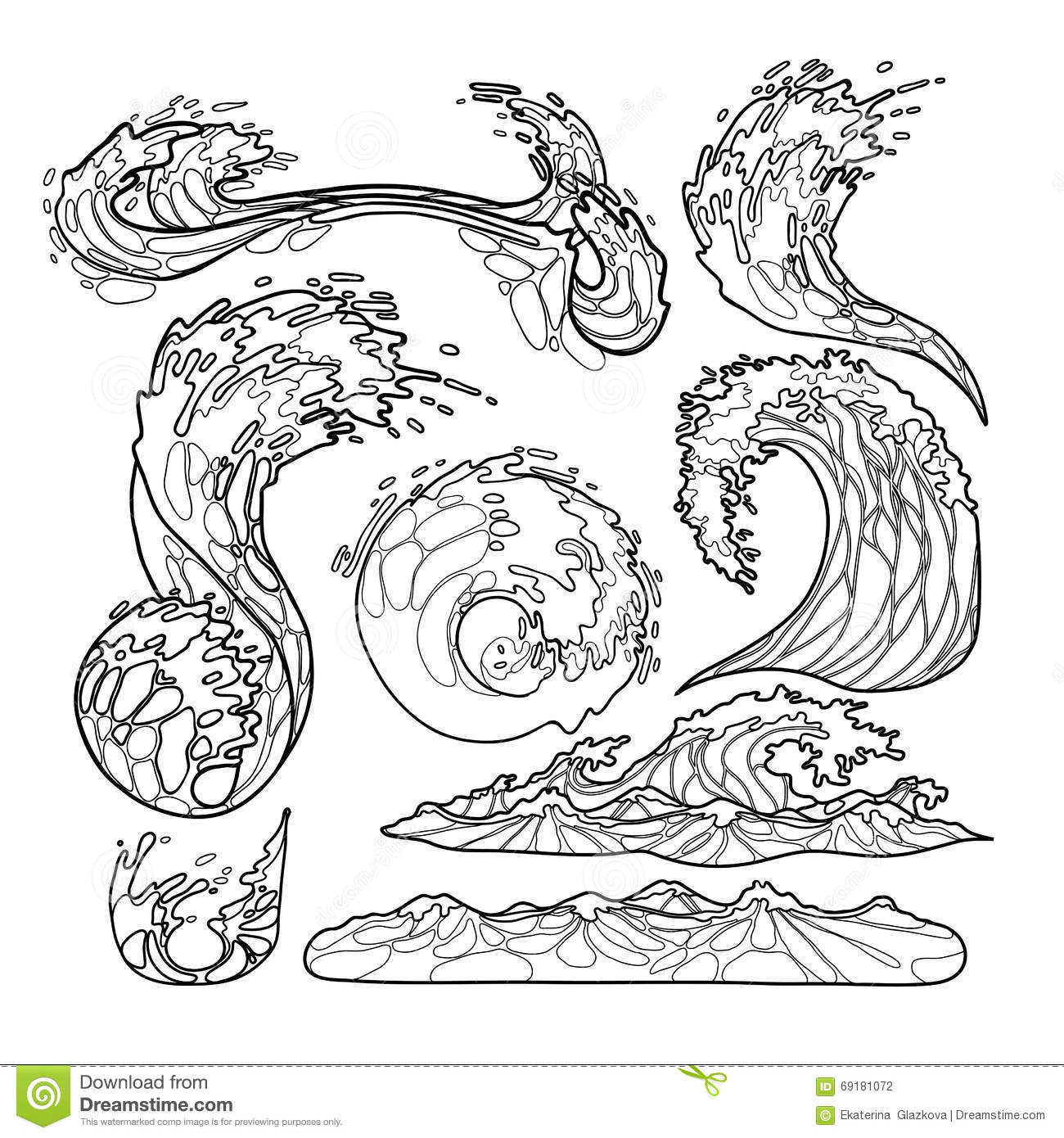 Ocean Waves Collection Stock Vector Illustration Of Gale