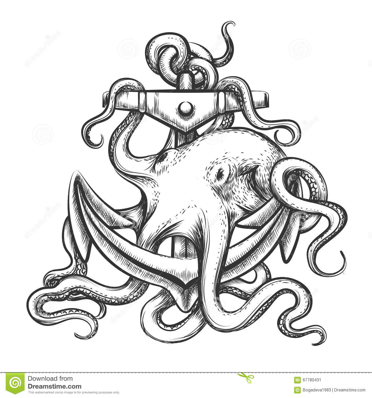 Octopus And Anchor Stock Vector Illustration Of Octopus