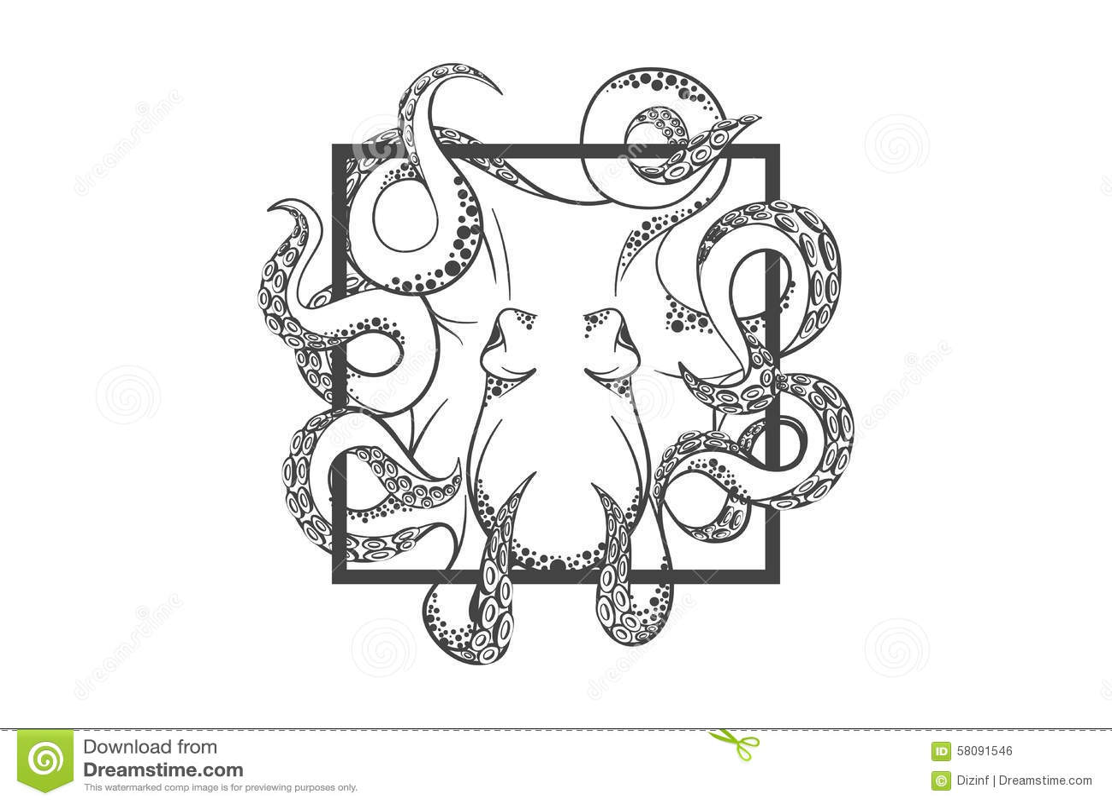 Squid Label Cartoon Vector