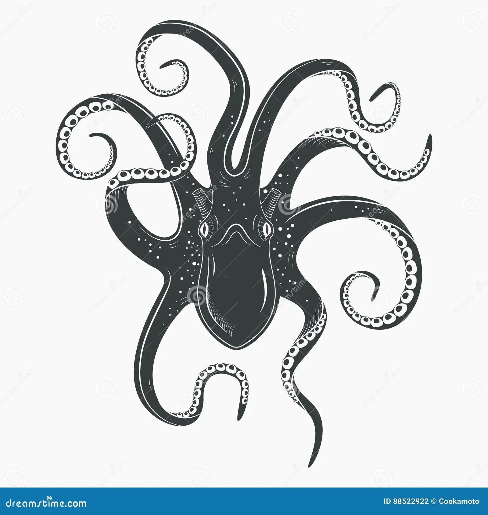 Octopus Tattoo Upside Down Mollusk Or Squid Stock Vector