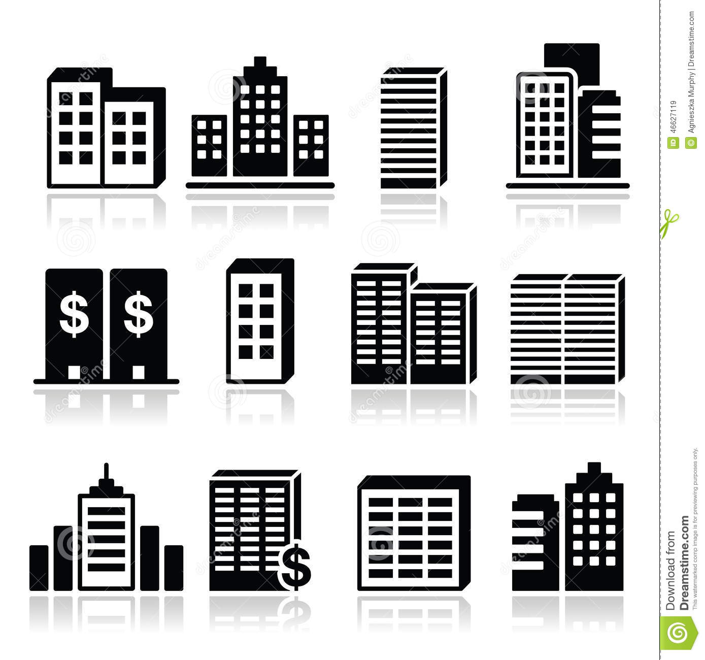Office Buildings Business Center Icons Set Stock
