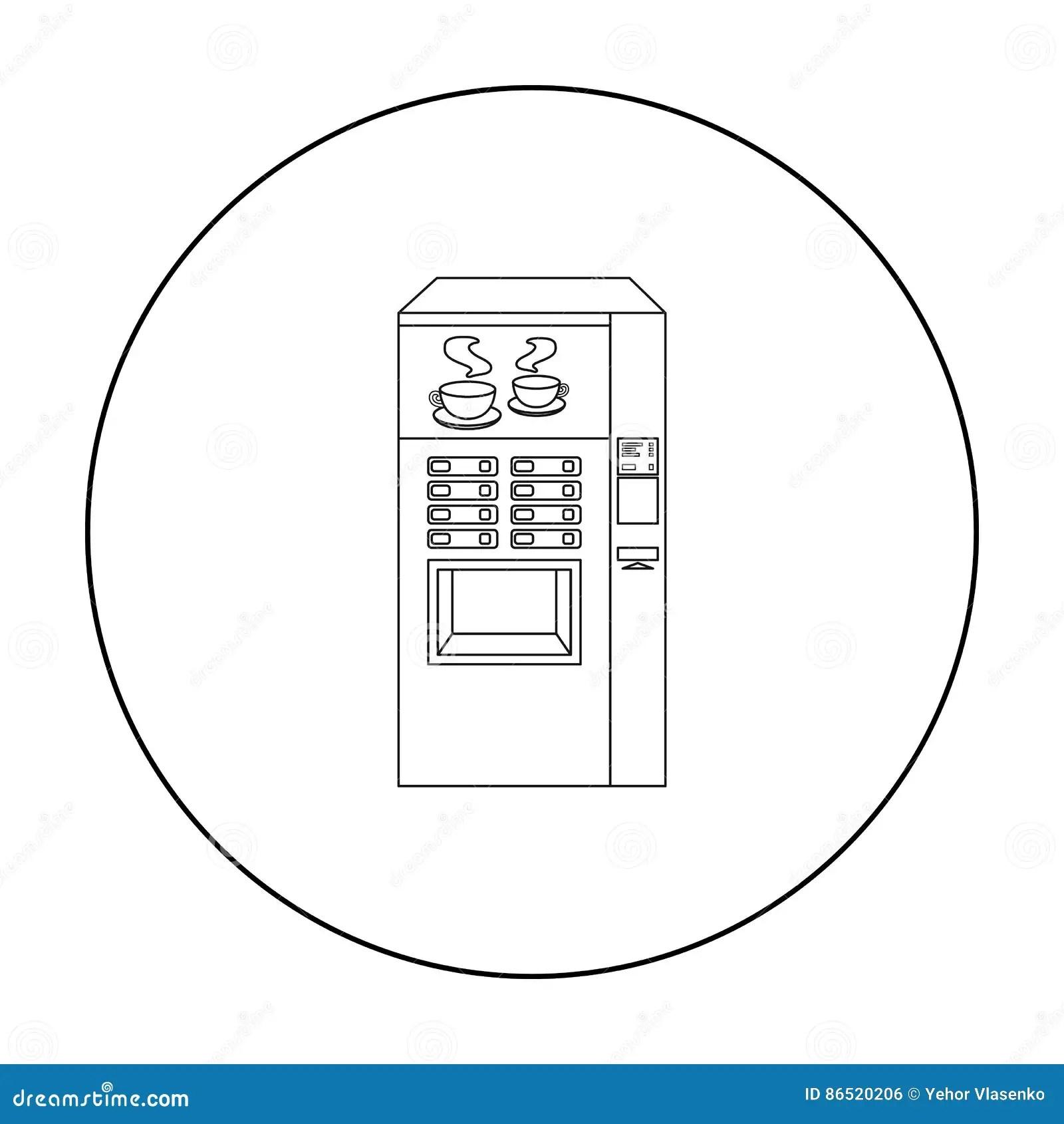Coffee Machine Icon Outline Style Cartoon Vector