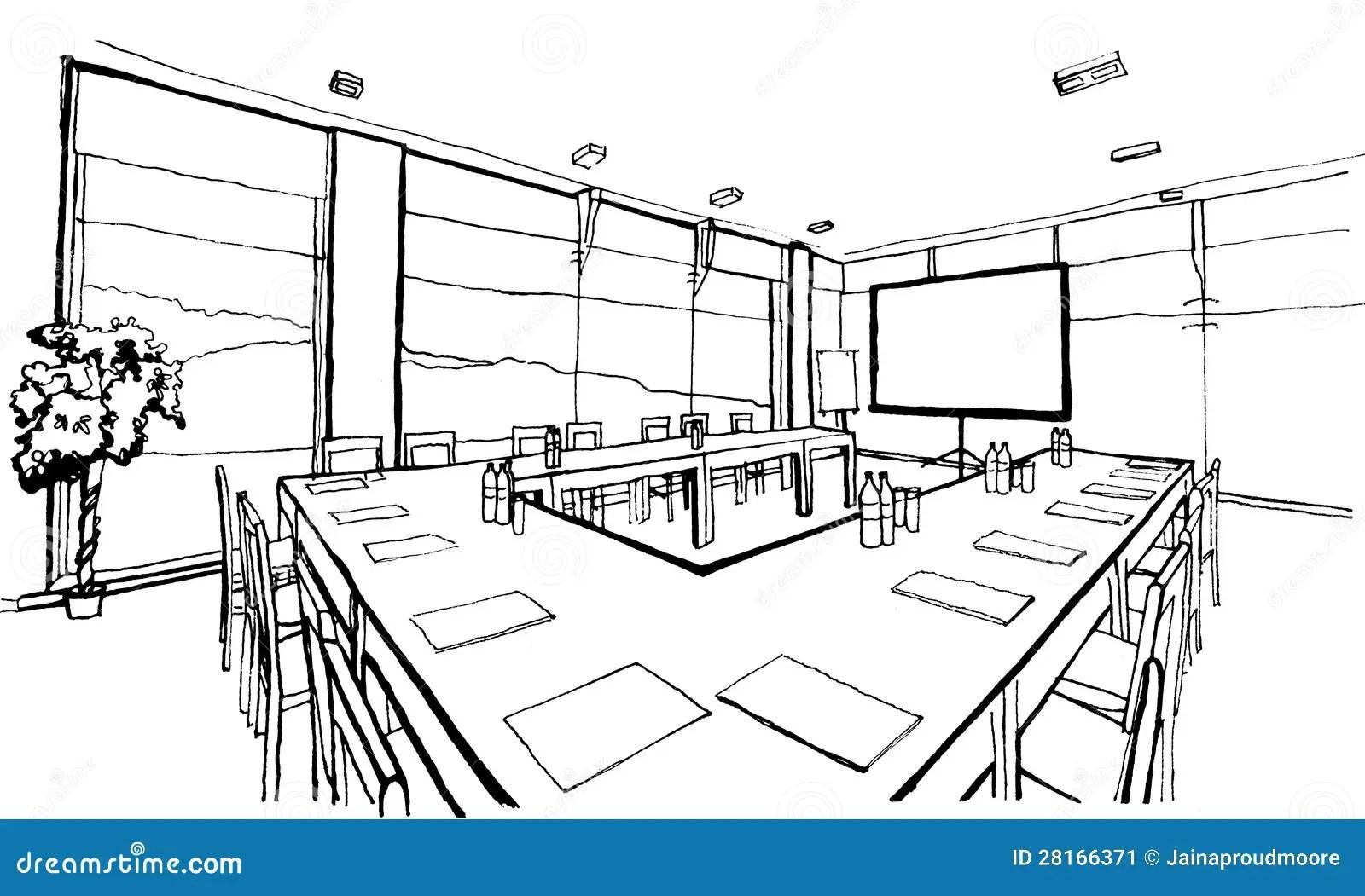 Office Hand Drawing Inc Stock Illustration Illustration