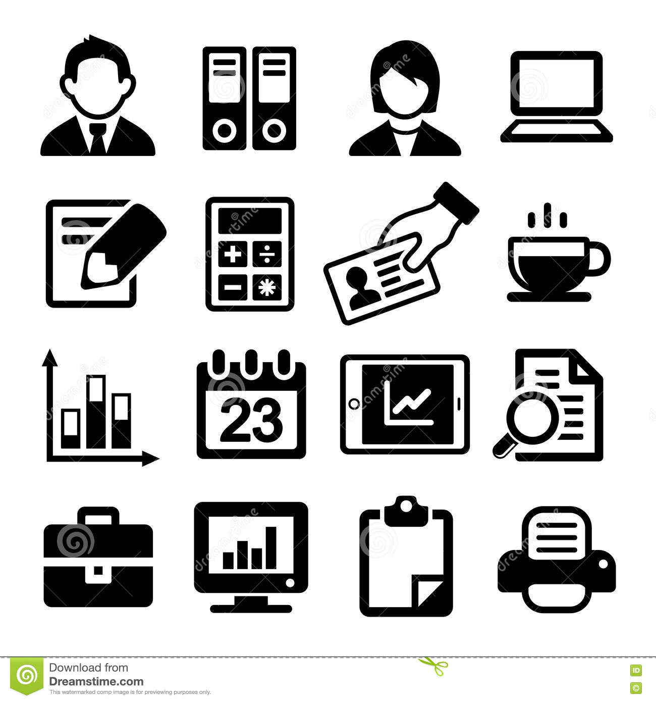 Office Icons Set Stock Vector Illustration Of Folders