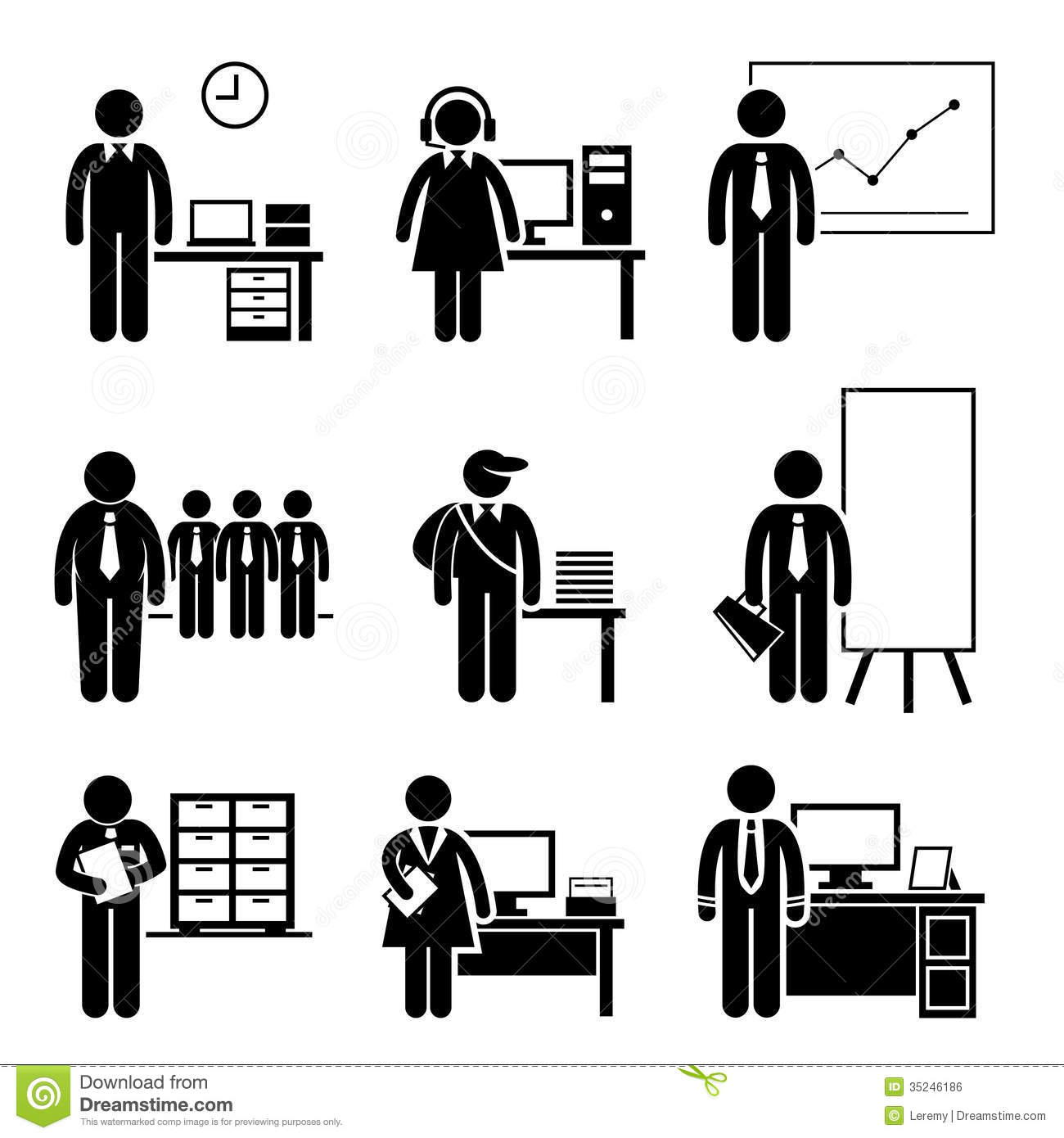 Office Jobs Occupations Careers Stock Vector