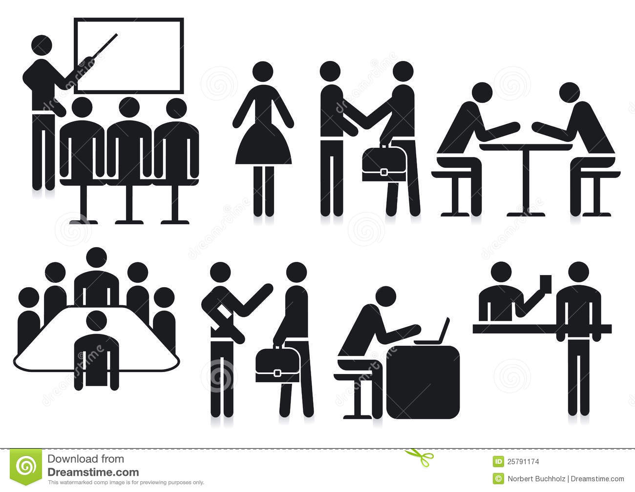 Office Silhouetted Icons Stock Vector Illustration Of