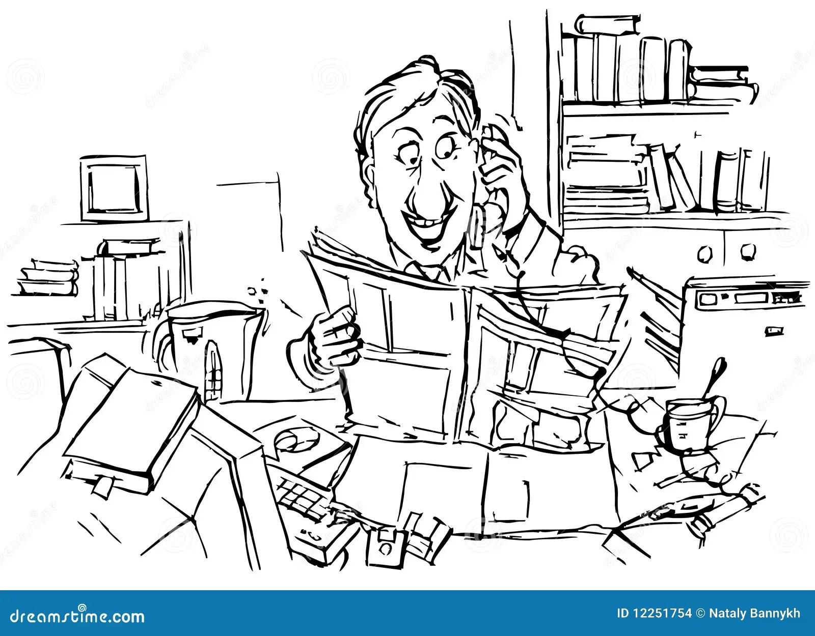 Office Worker Speaks On The Telephone Stock Illustration