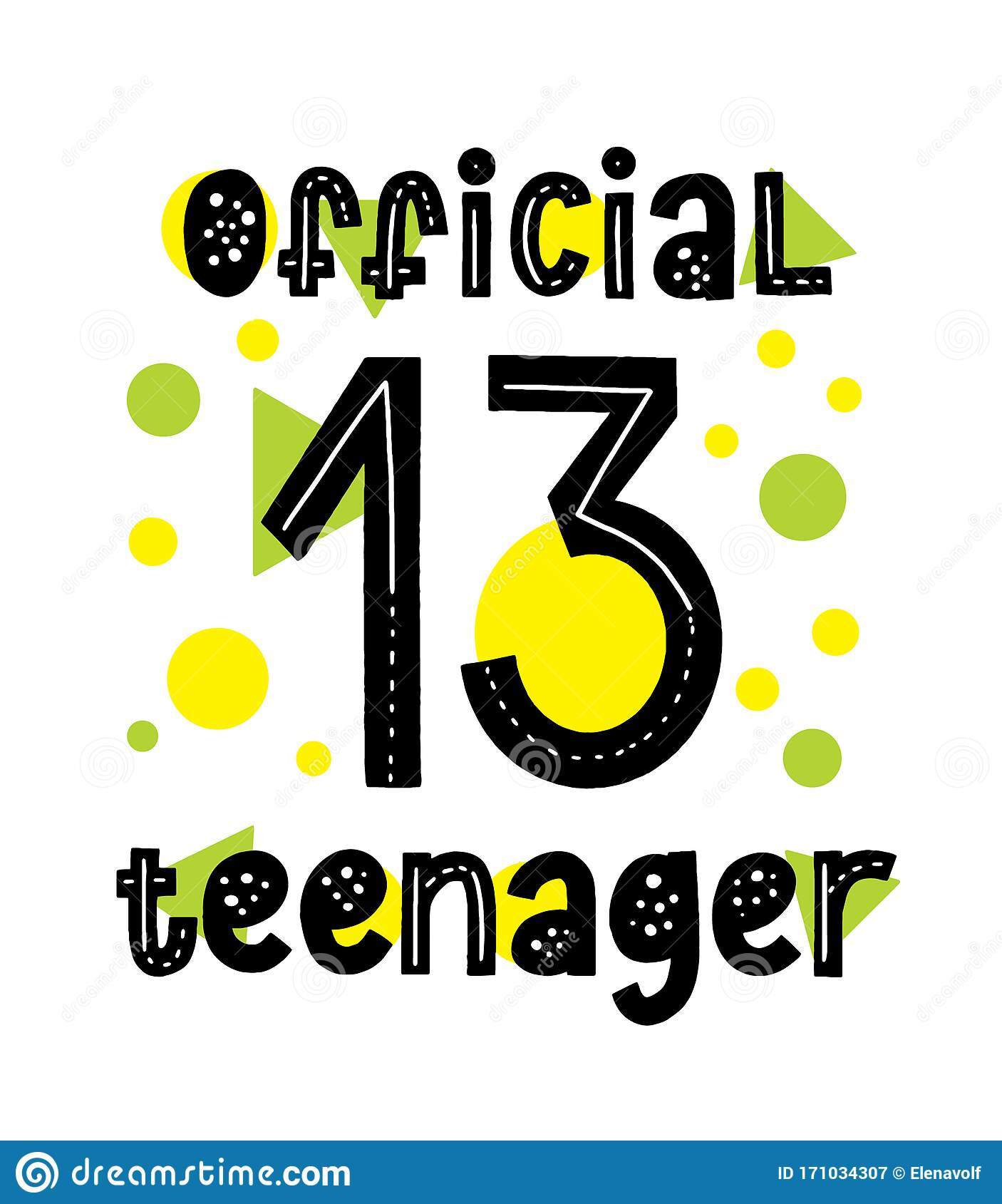 https www dreamstime com official teenager typography card happy birthday th invitation nice modern quote design image171034307